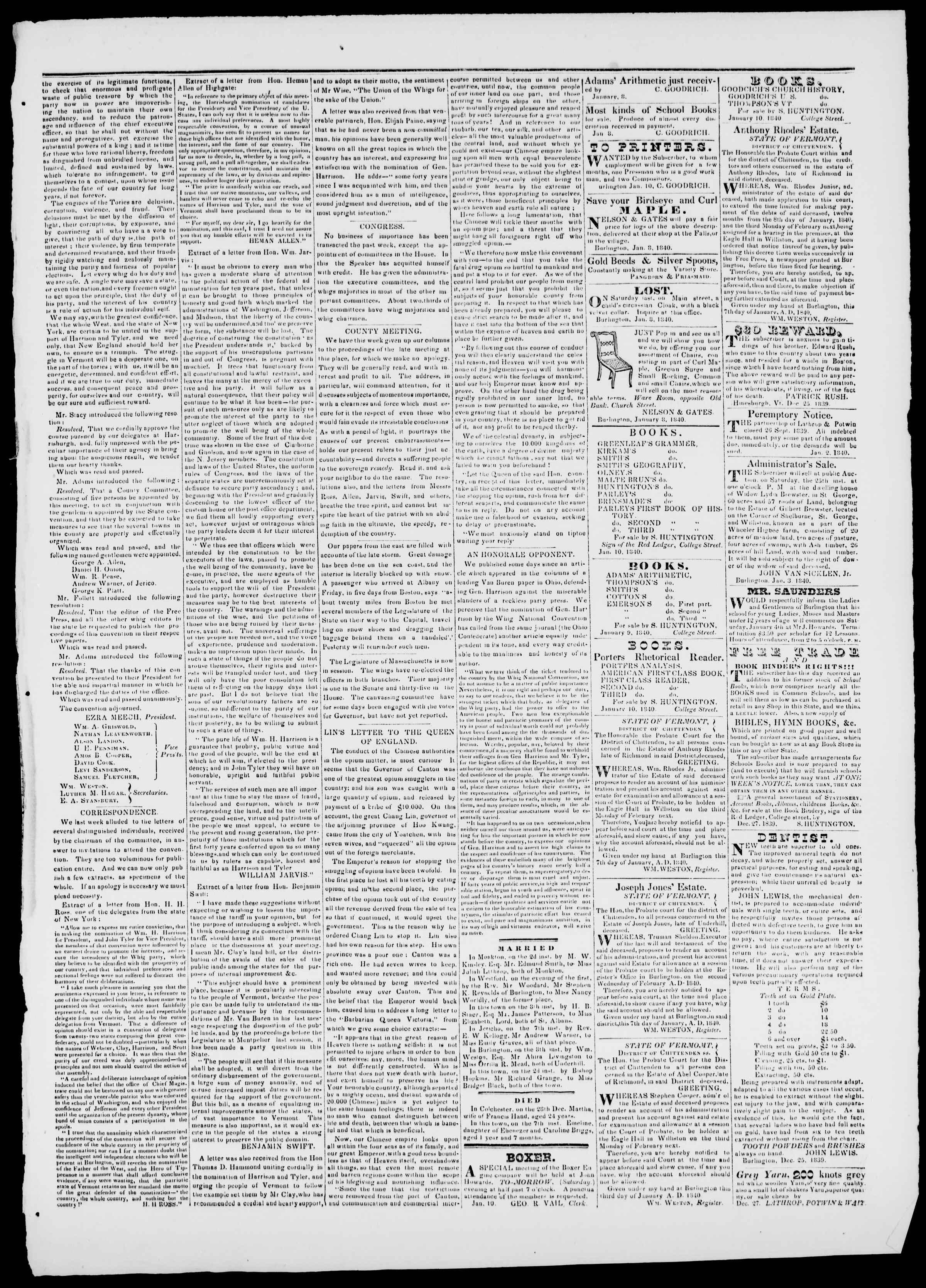 Newspaper of Burlington Free Press dated January 10, 1840 Page 3