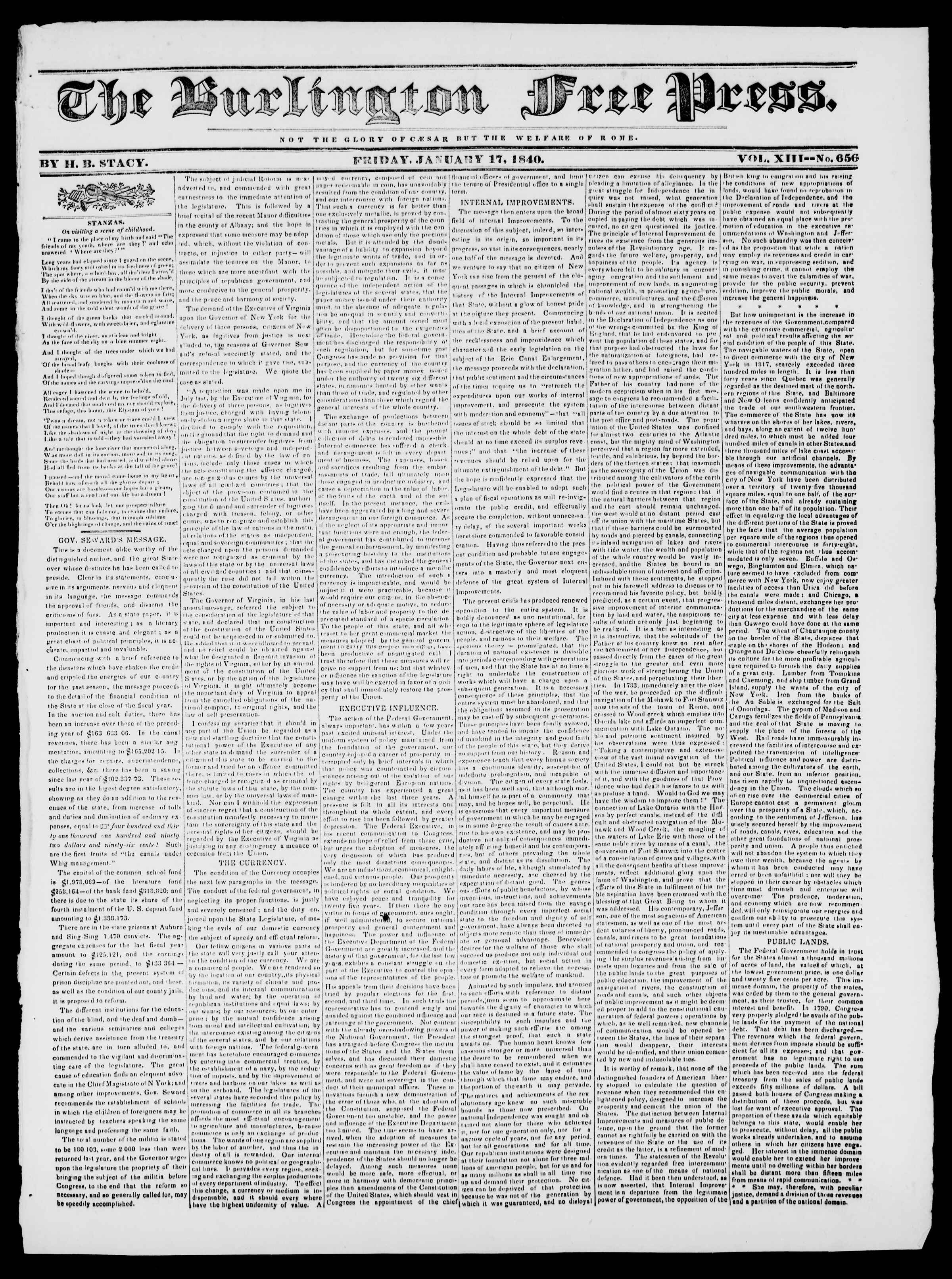 Newspaper of Burlington Free Press dated January 17, 1840 Page 1