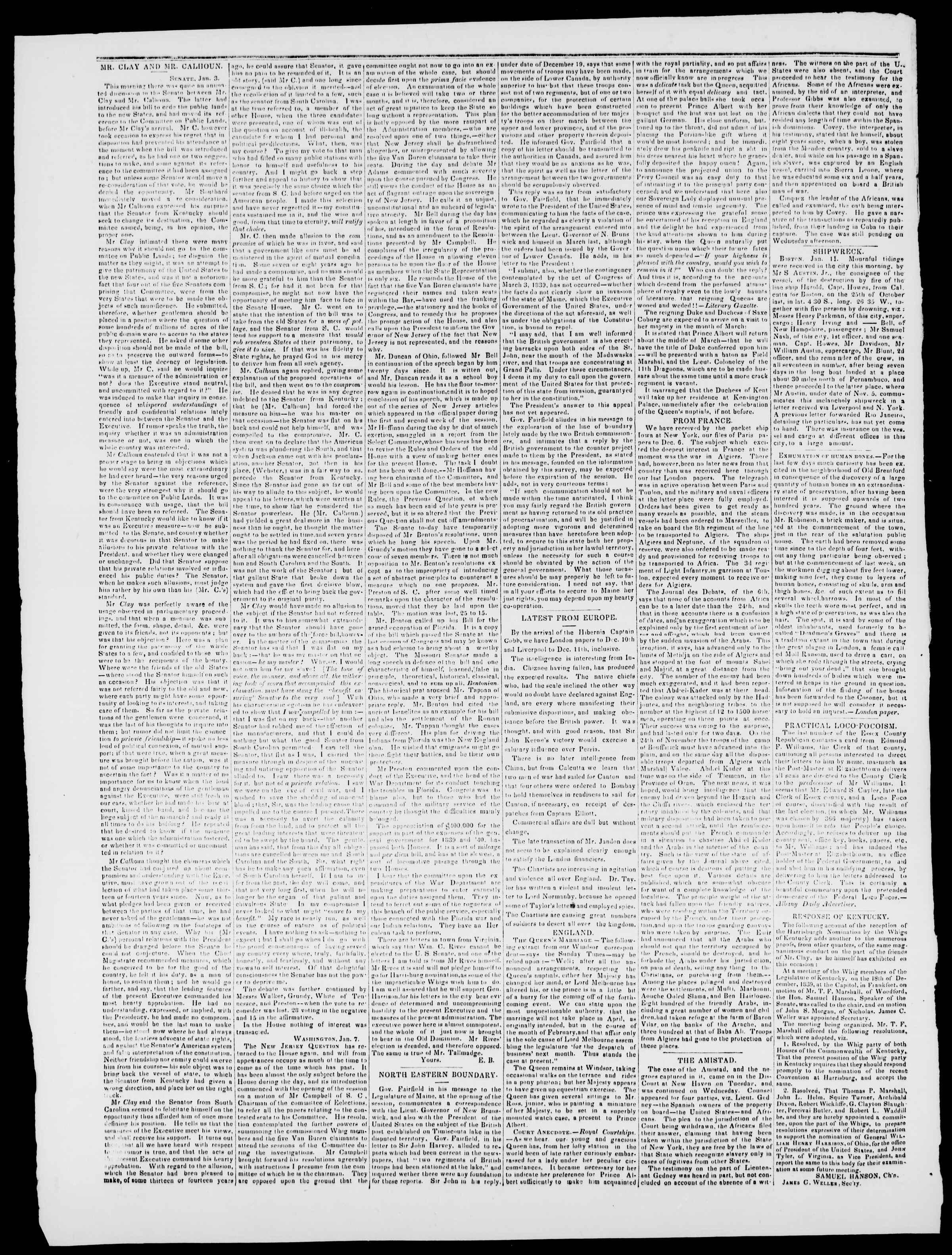 Newspaper of Burlington Free Press dated January 17, 1840 Page 2