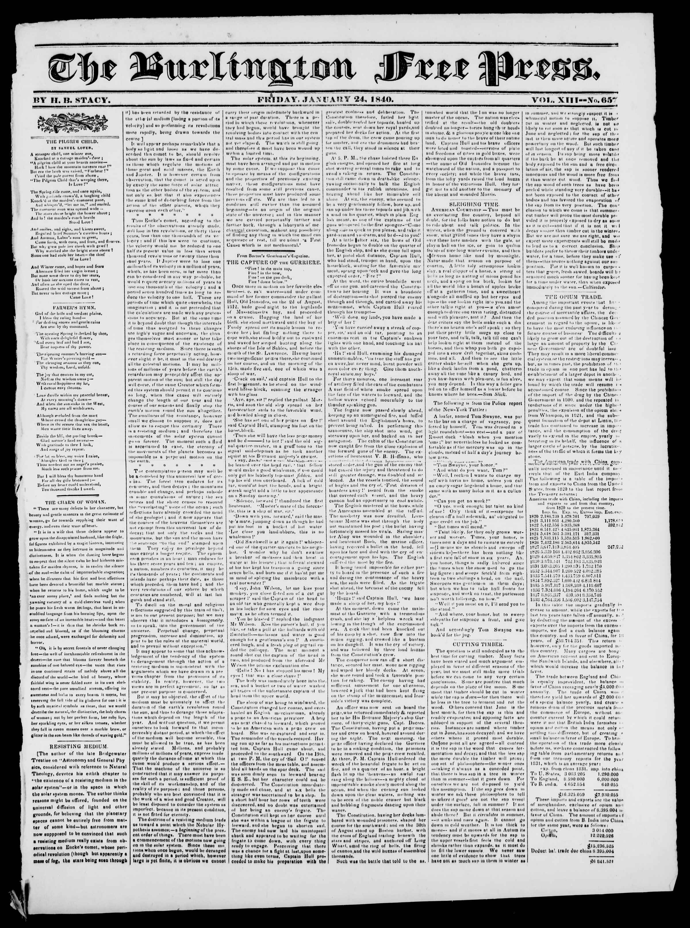 Newspaper of Burlington Free Press dated January 24, 1840 Page 1