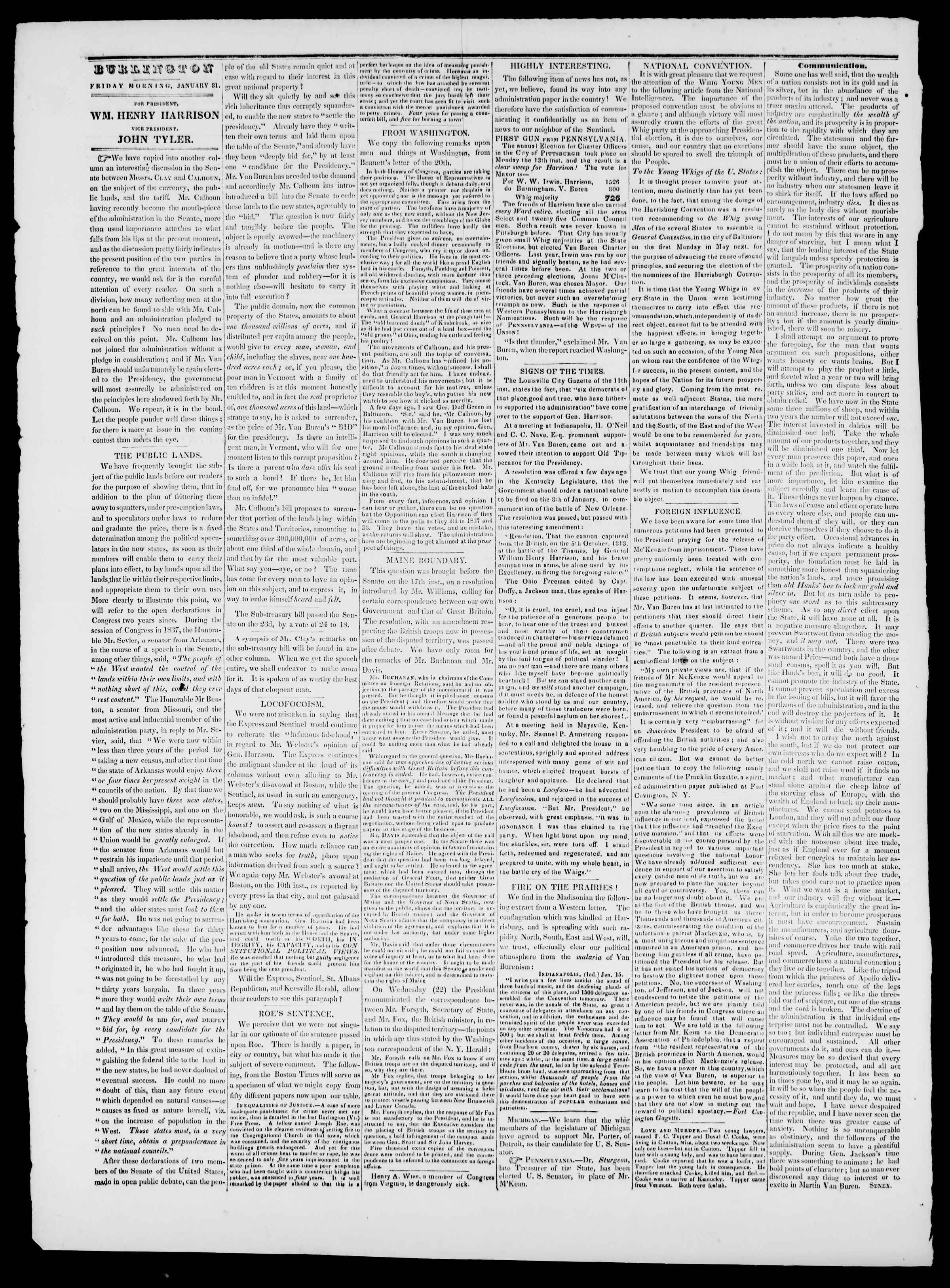 Newspaper of Burlington Free Press dated January 31, 1840 Page 2
