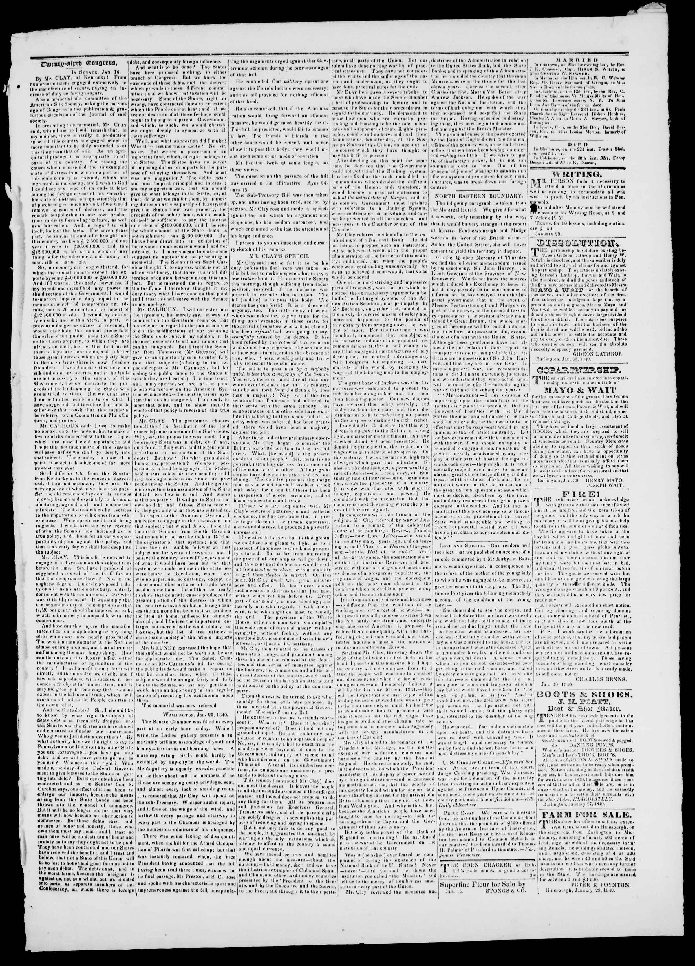 Newspaper of Burlington Free Press dated January 31, 1840 Page 3