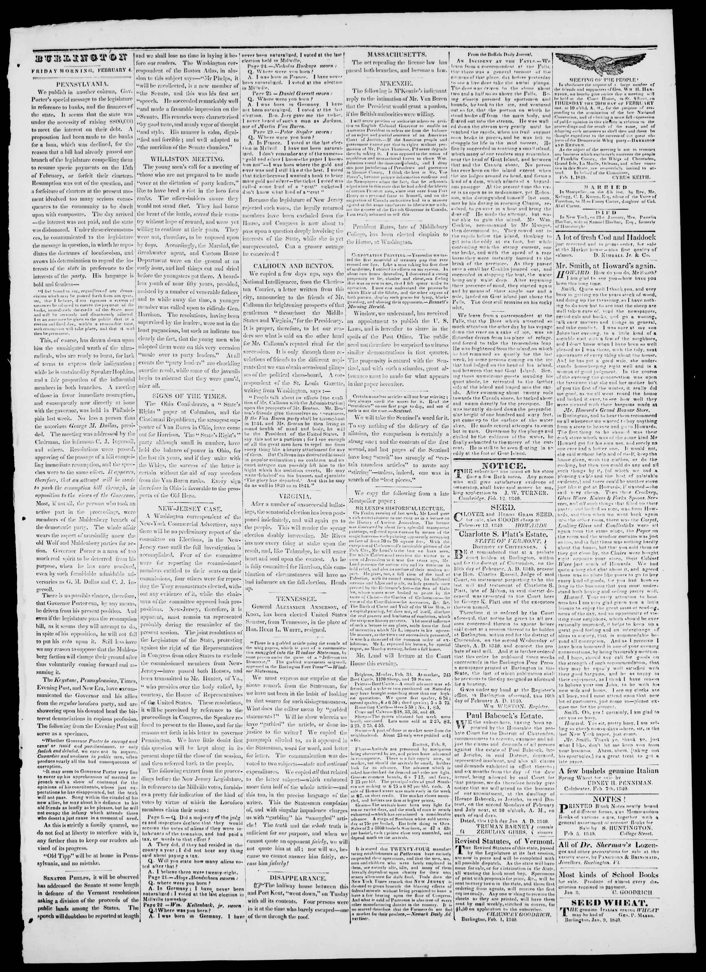 Newspaper of Burlington Free Press dated February 14, 1840 Page 3