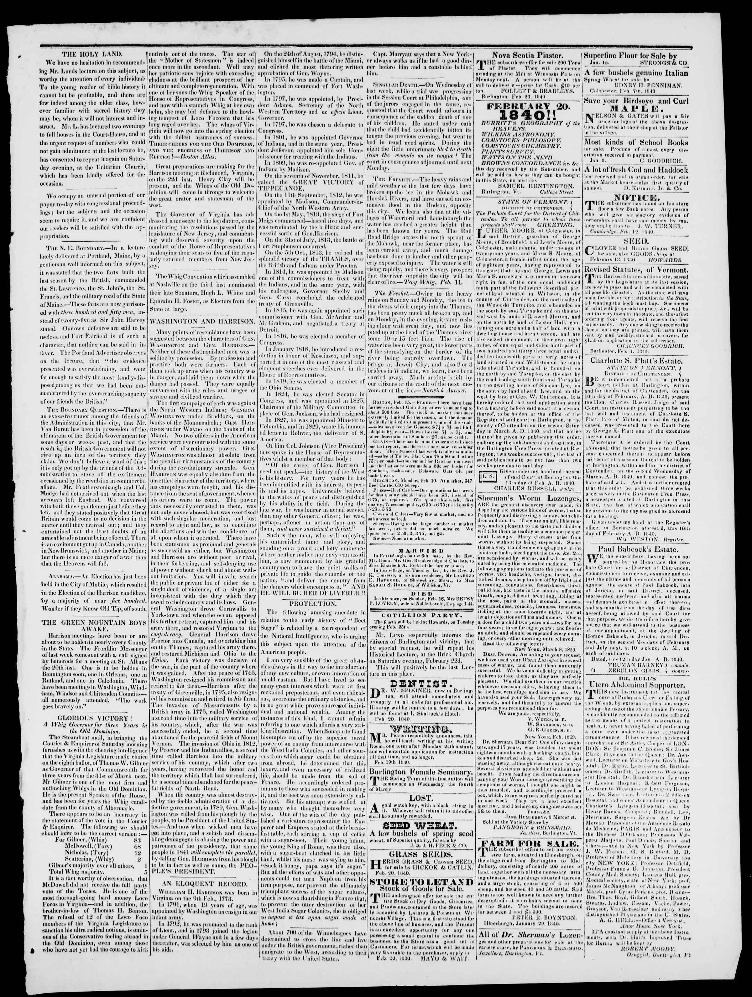 Newspaper of Burlington Free Press dated February 21, 1840 Page 3