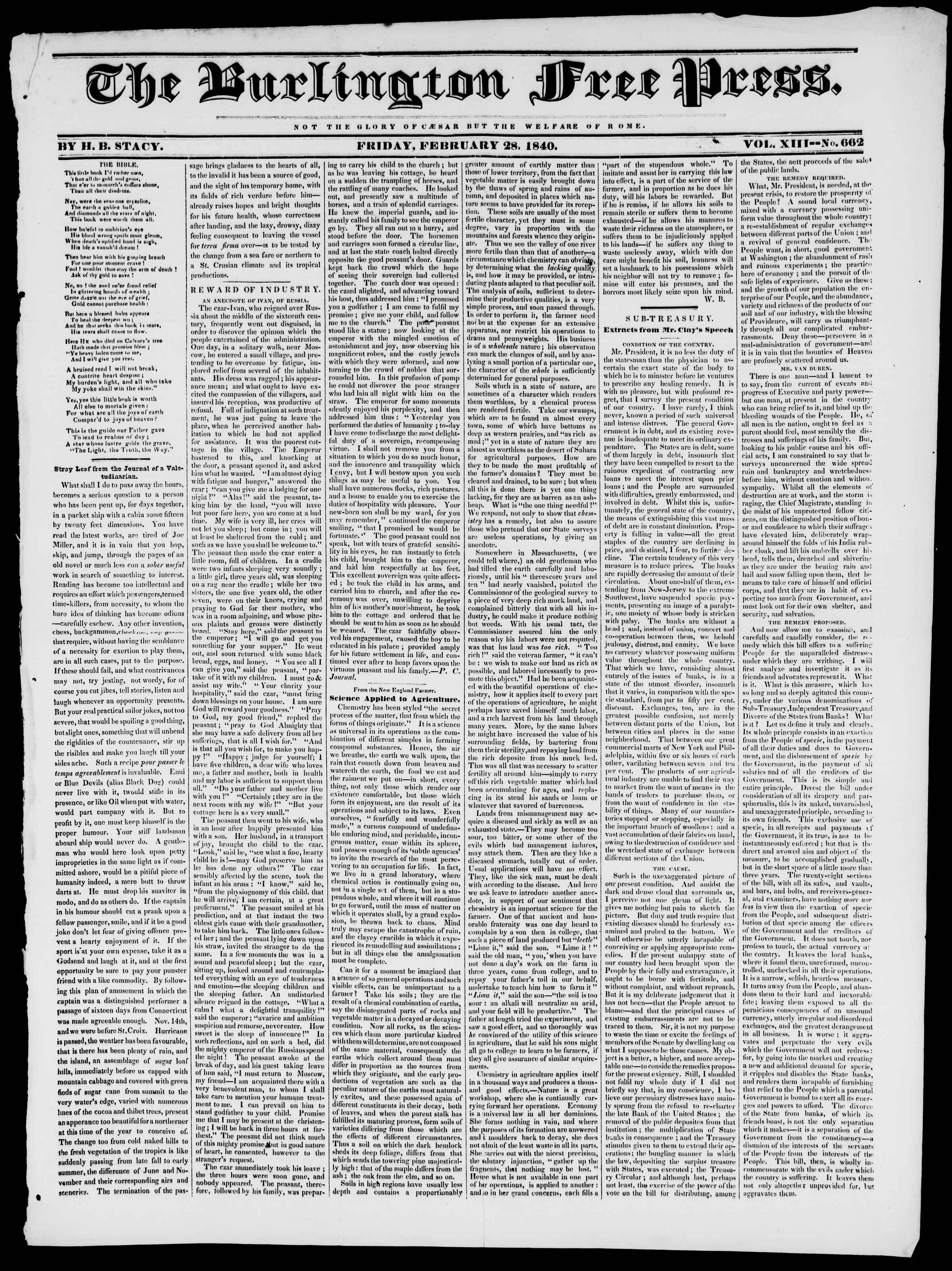 Newspaper of Burlington Free Press dated February 28, 1840 Page 1
