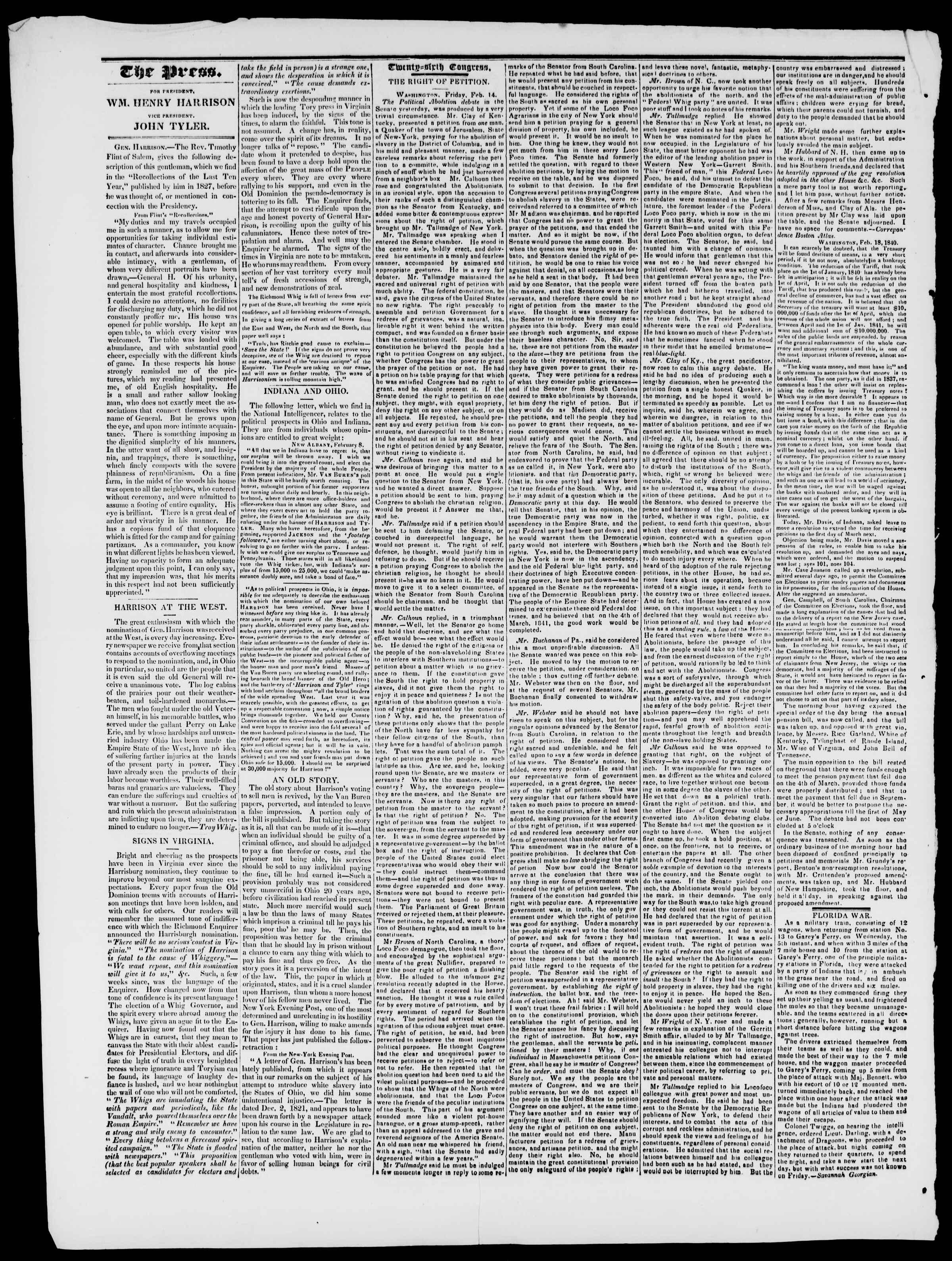 Newspaper of Burlington Free Press dated February 28, 1840 Page 2