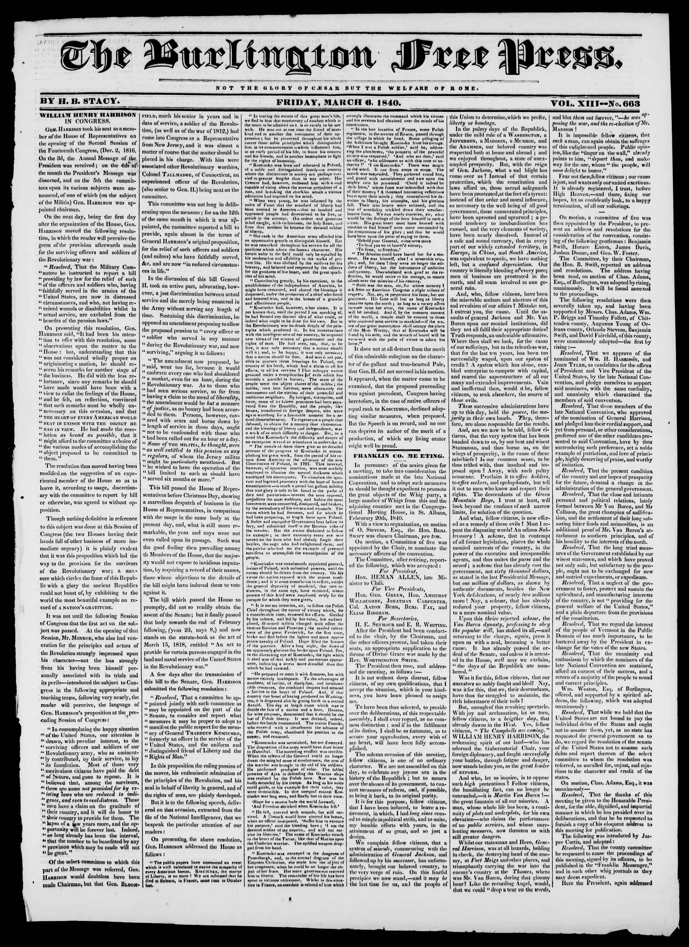 Newspaper of Burlington Free Press dated March 6, 1840 Page 1