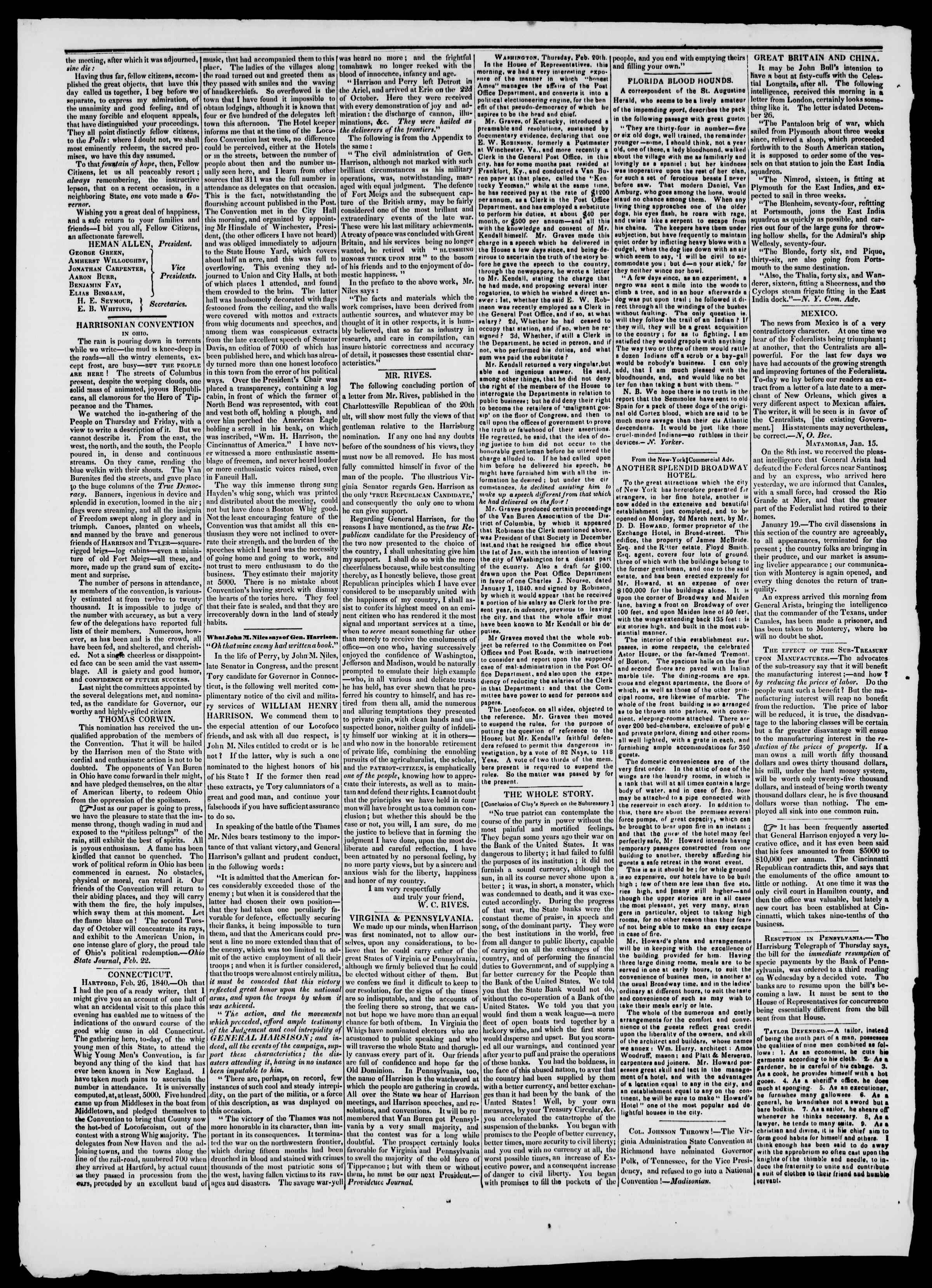 Newspaper of Burlington Free Press dated March 6, 1840 Page 2