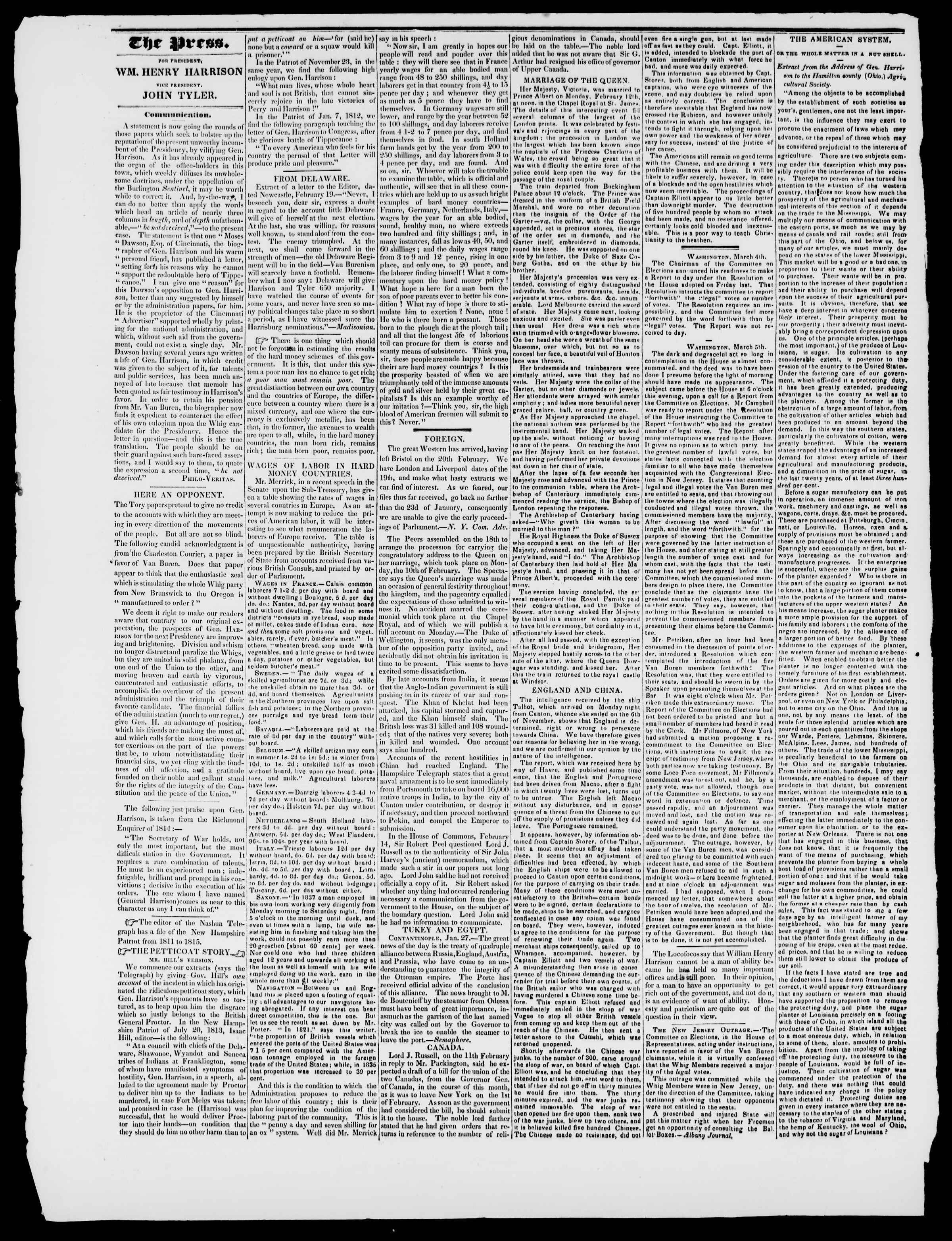 Newspaper of Burlington Free Press dated March 13, 1840 Page 2