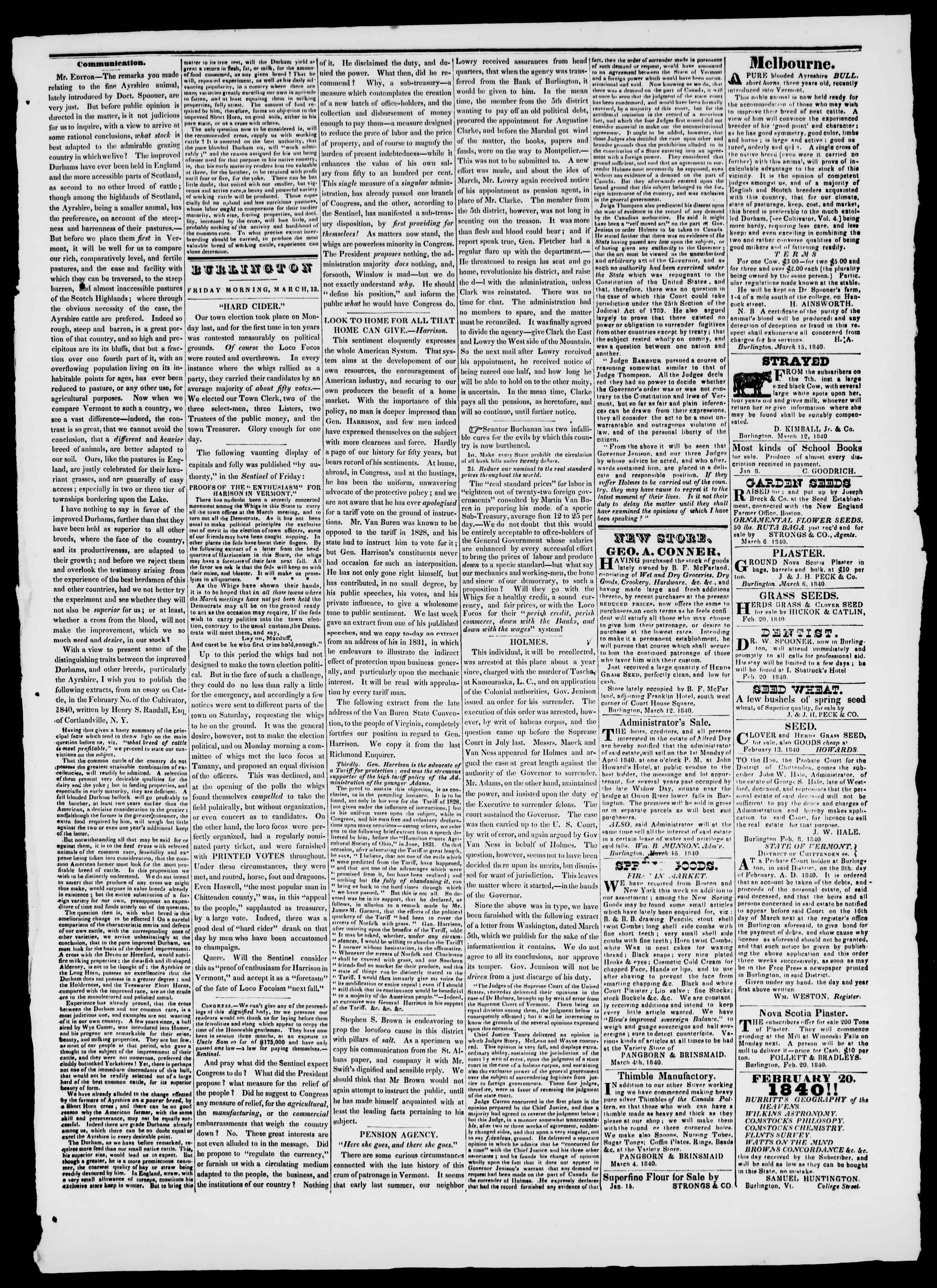 Newspaper of Burlington Free Press dated March 13, 1840 Page 3