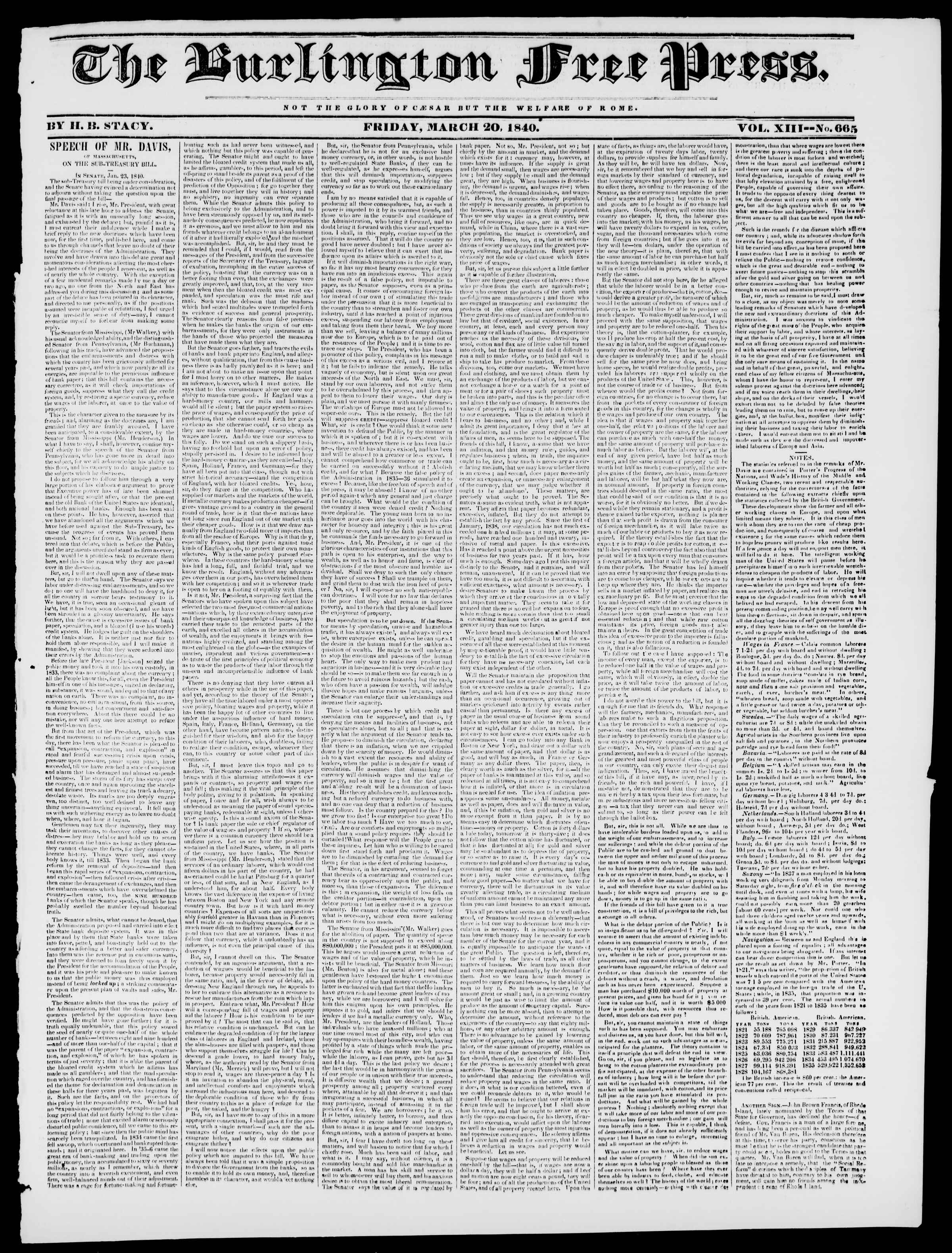 Newspaper of Burlington Free Press dated March 20, 1840 Page 1