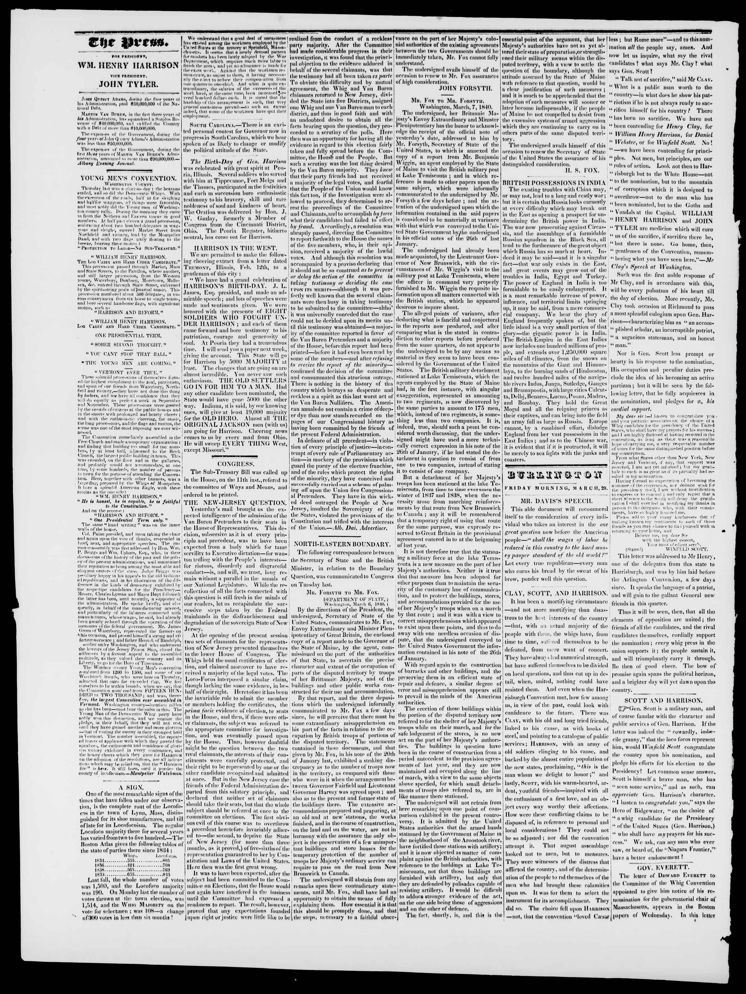 Newspaper of Burlington Free Press dated March 20, 1840 Page 2