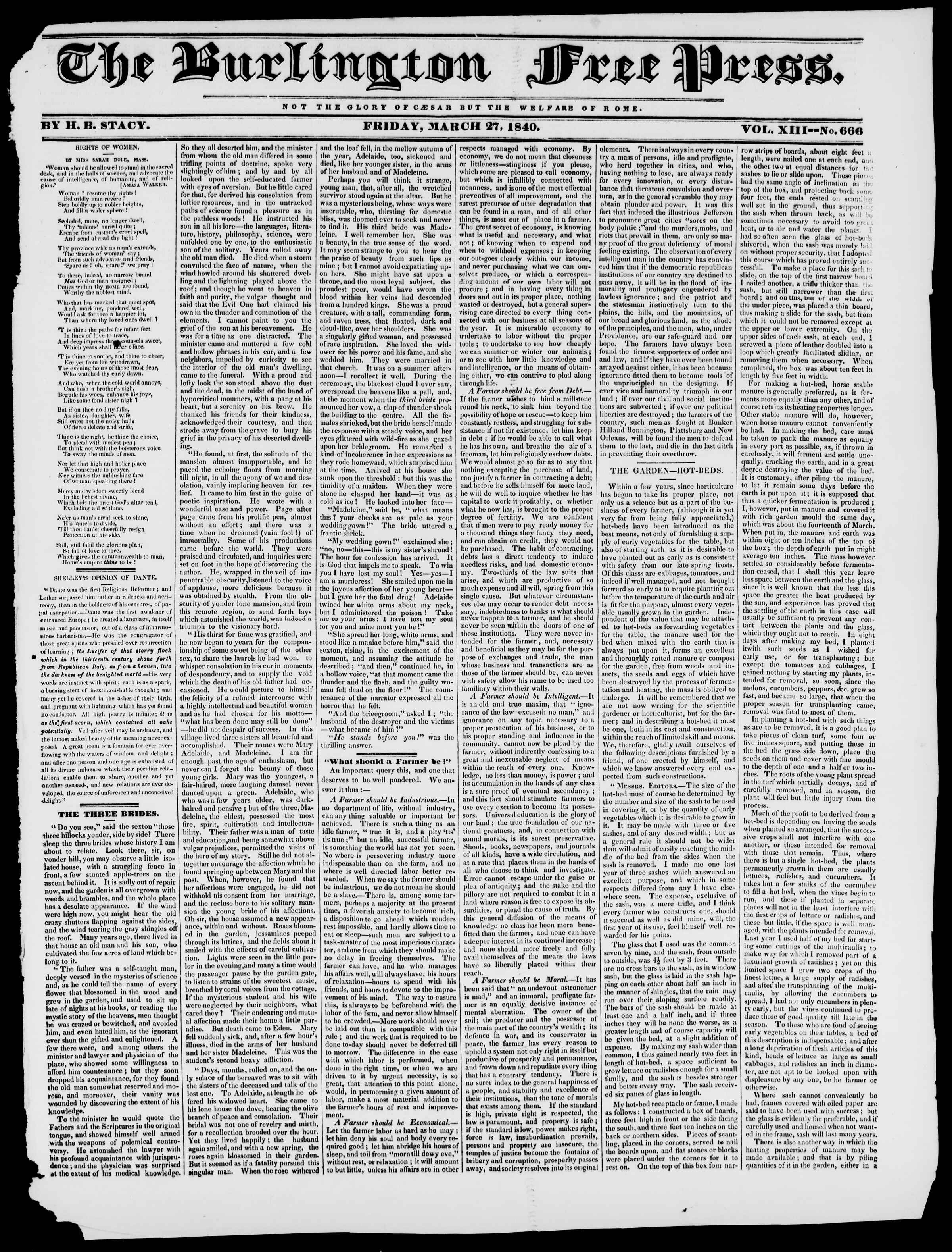 Newspaper of Burlington Free Press dated March 27, 1840 Page 1