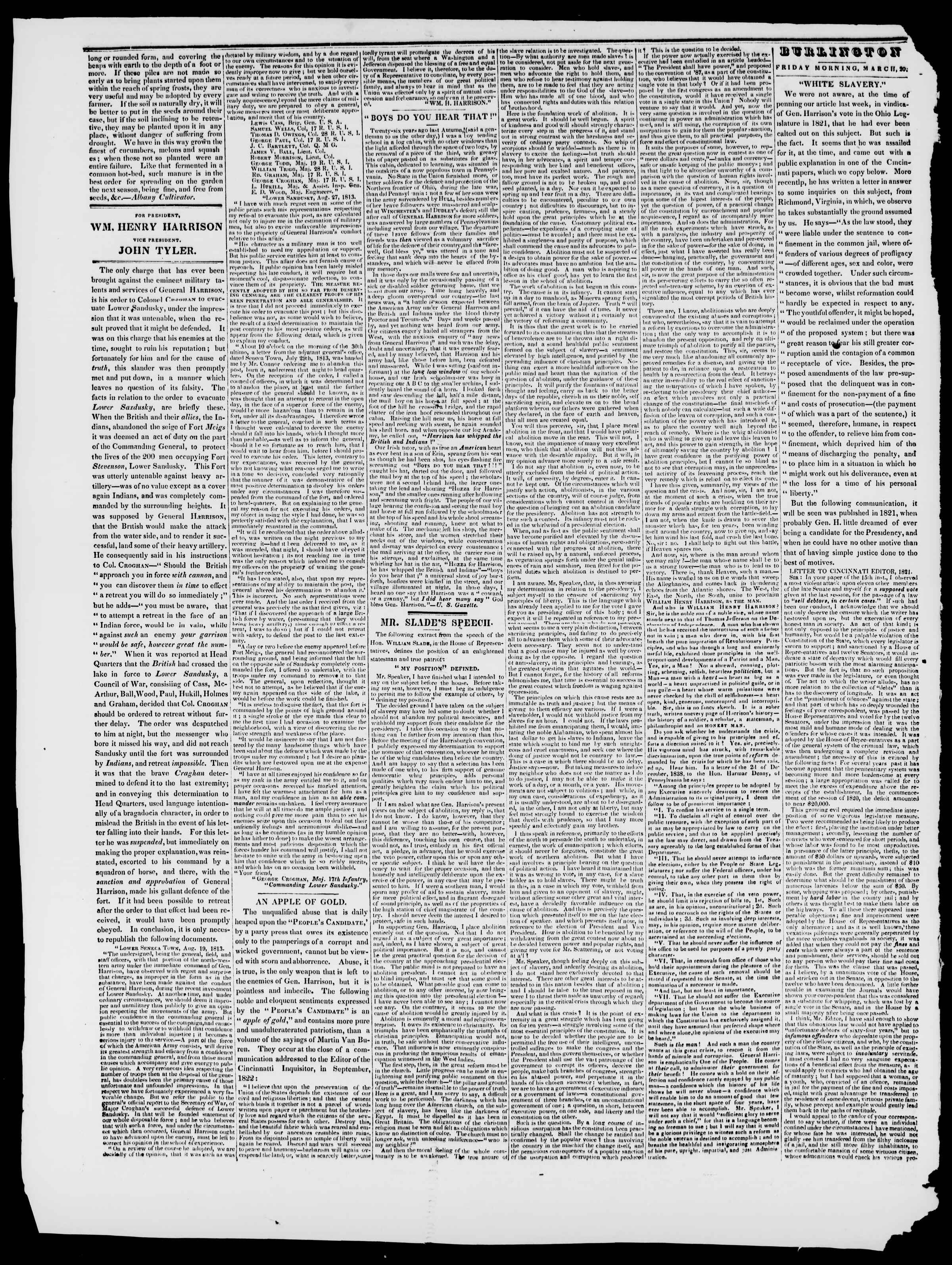 Newspaper of Burlington Free Press dated March 27, 1840 Page 2