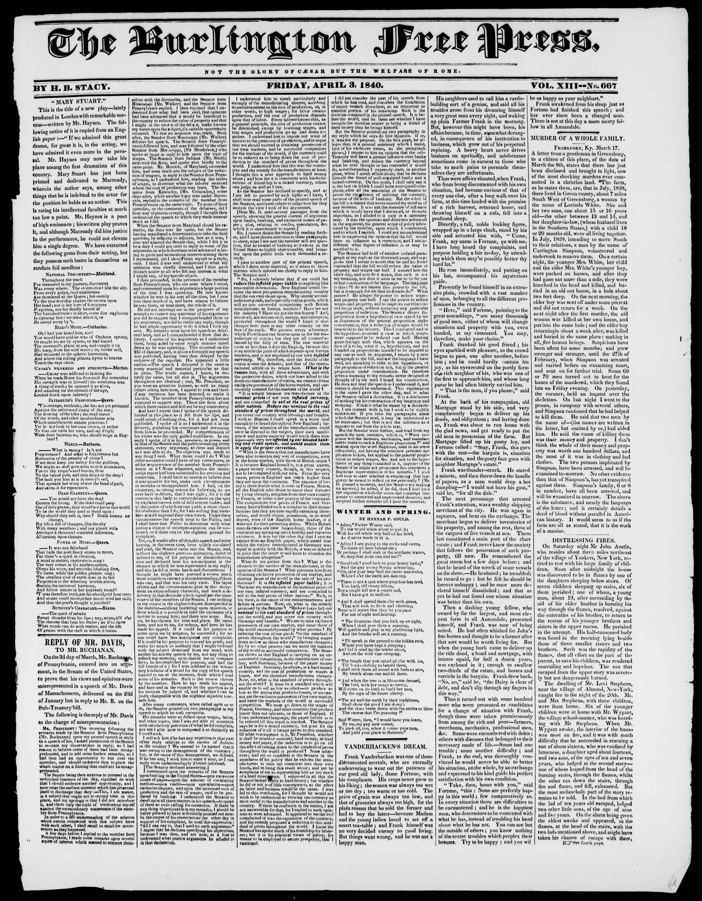 Newspaper of Burlington Free Press dated April 3, 1840 Page 1