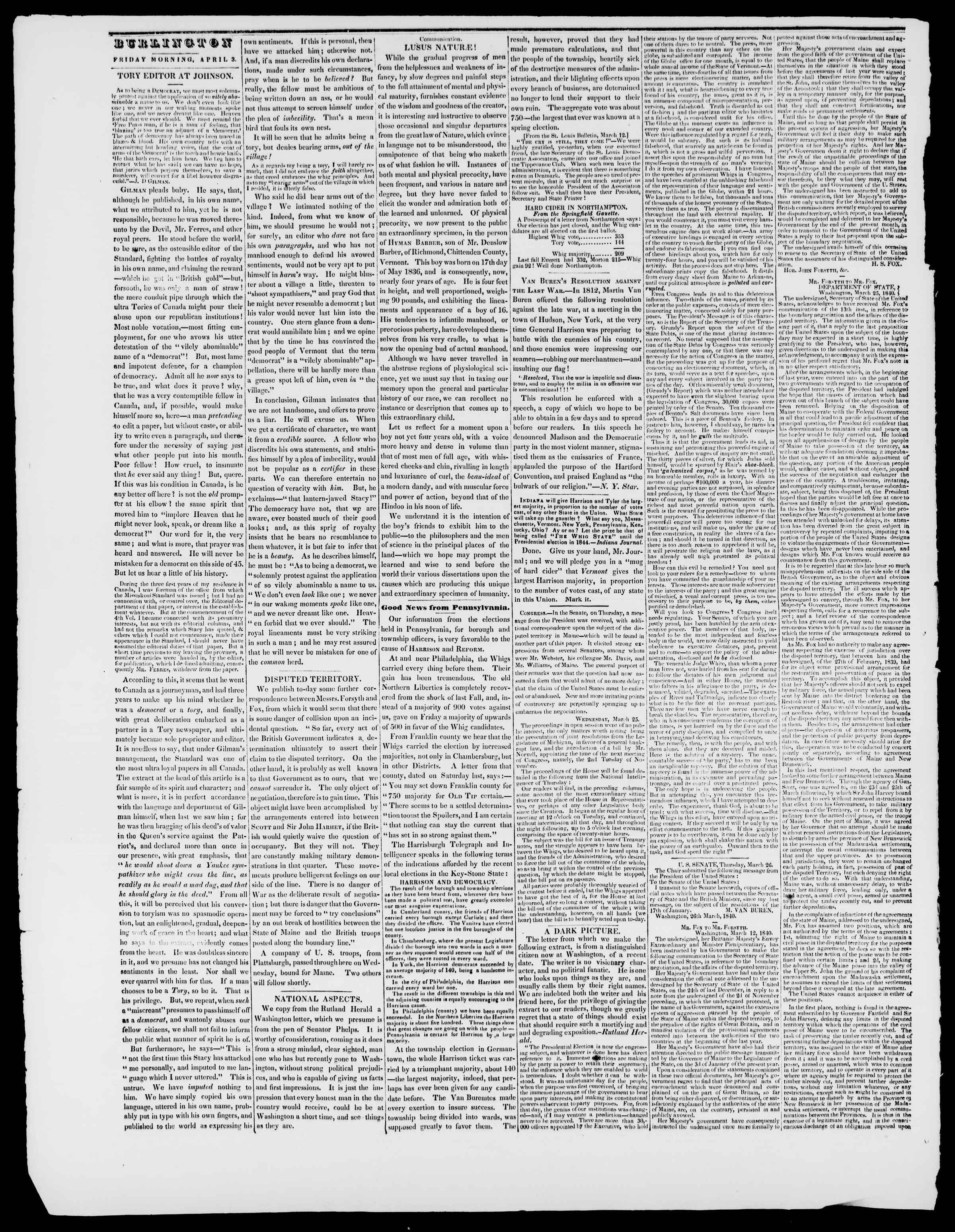 Newspaper of Burlington Free Press dated April 3, 1840 Page 2