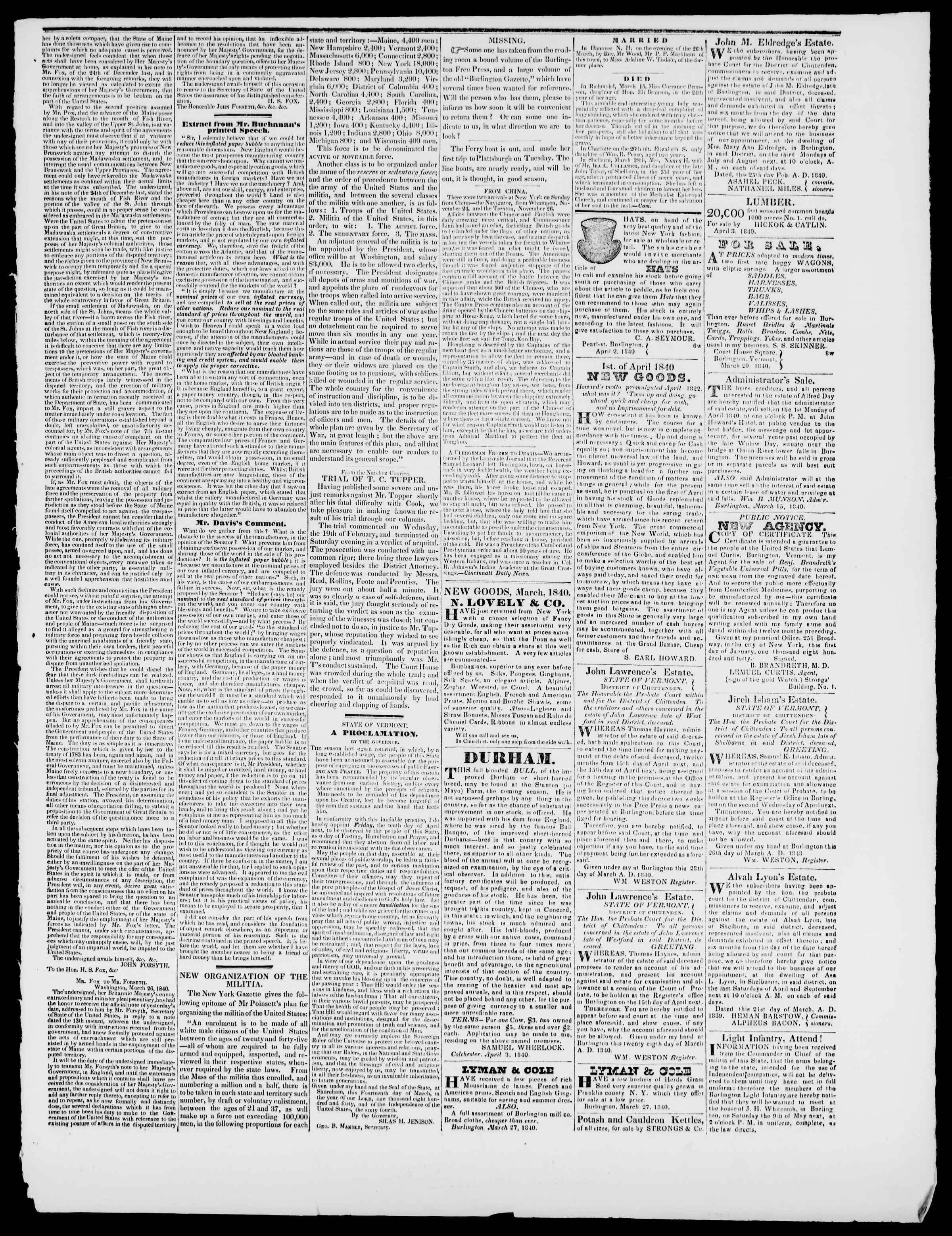 Newspaper of Burlington Free Press dated April 3, 1840 Page 3
