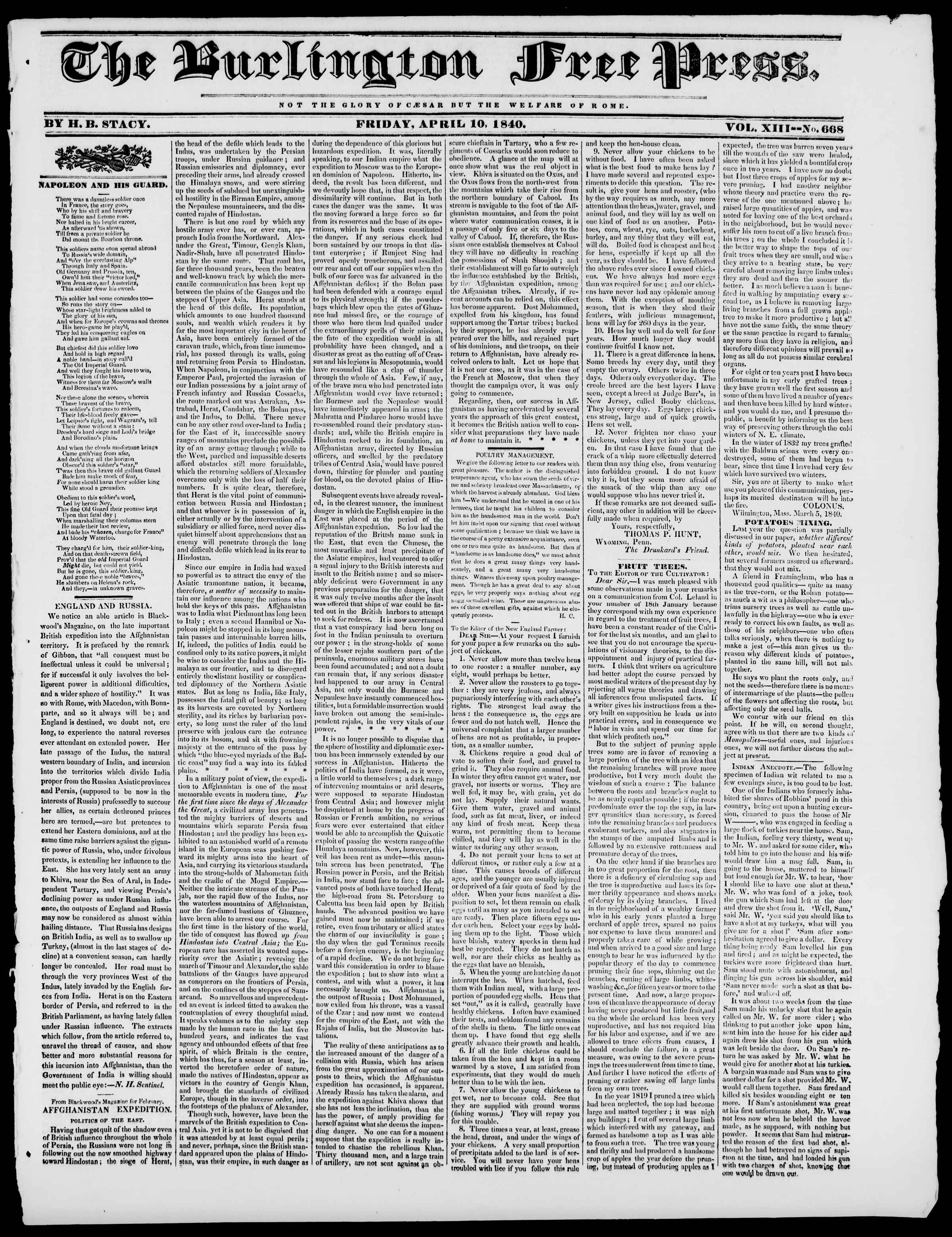 Newspaper of Burlington Free Press dated April 10, 1840 Page 1