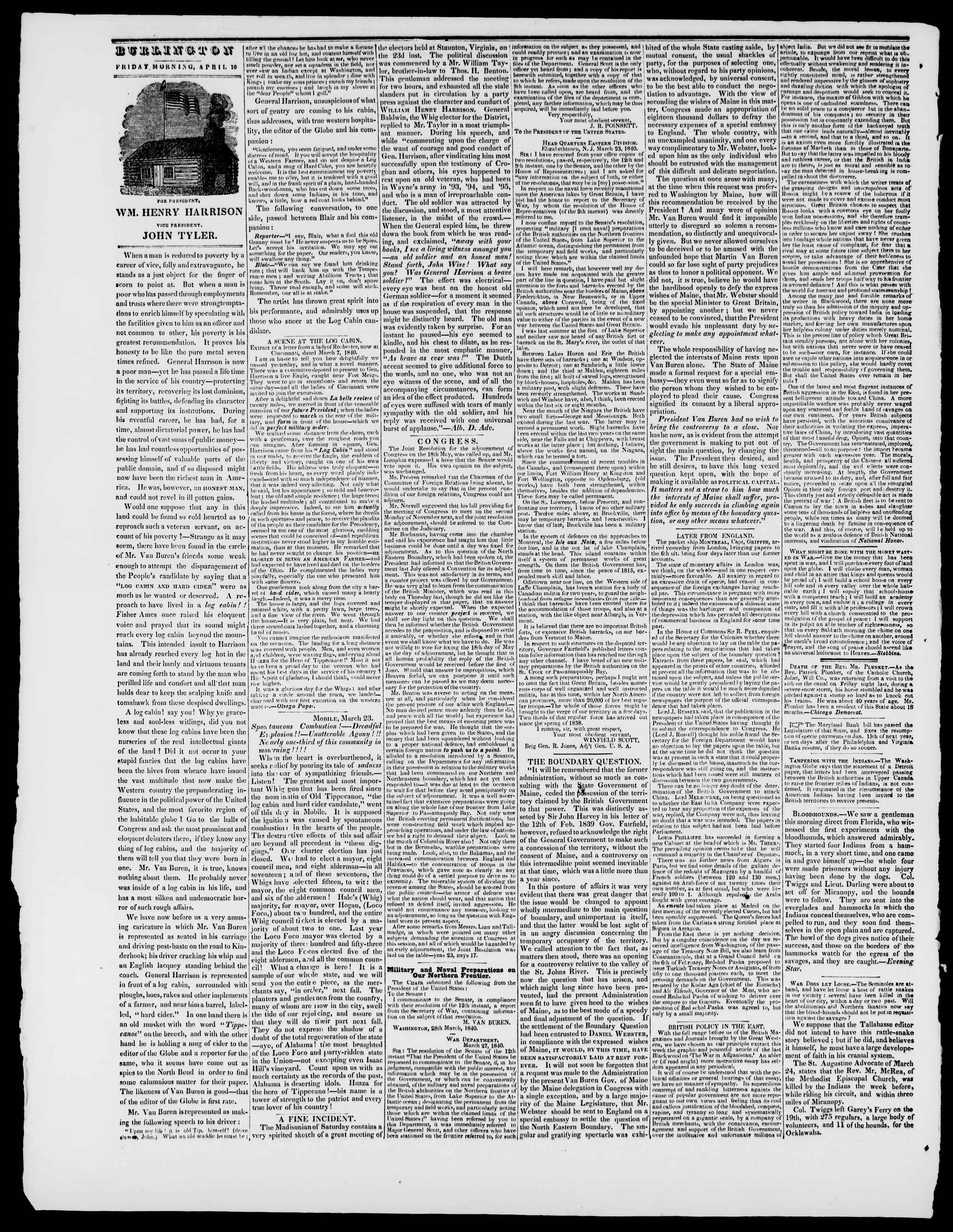 Newspaper of Burlington Free Press dated April 10, 1840 Page 2