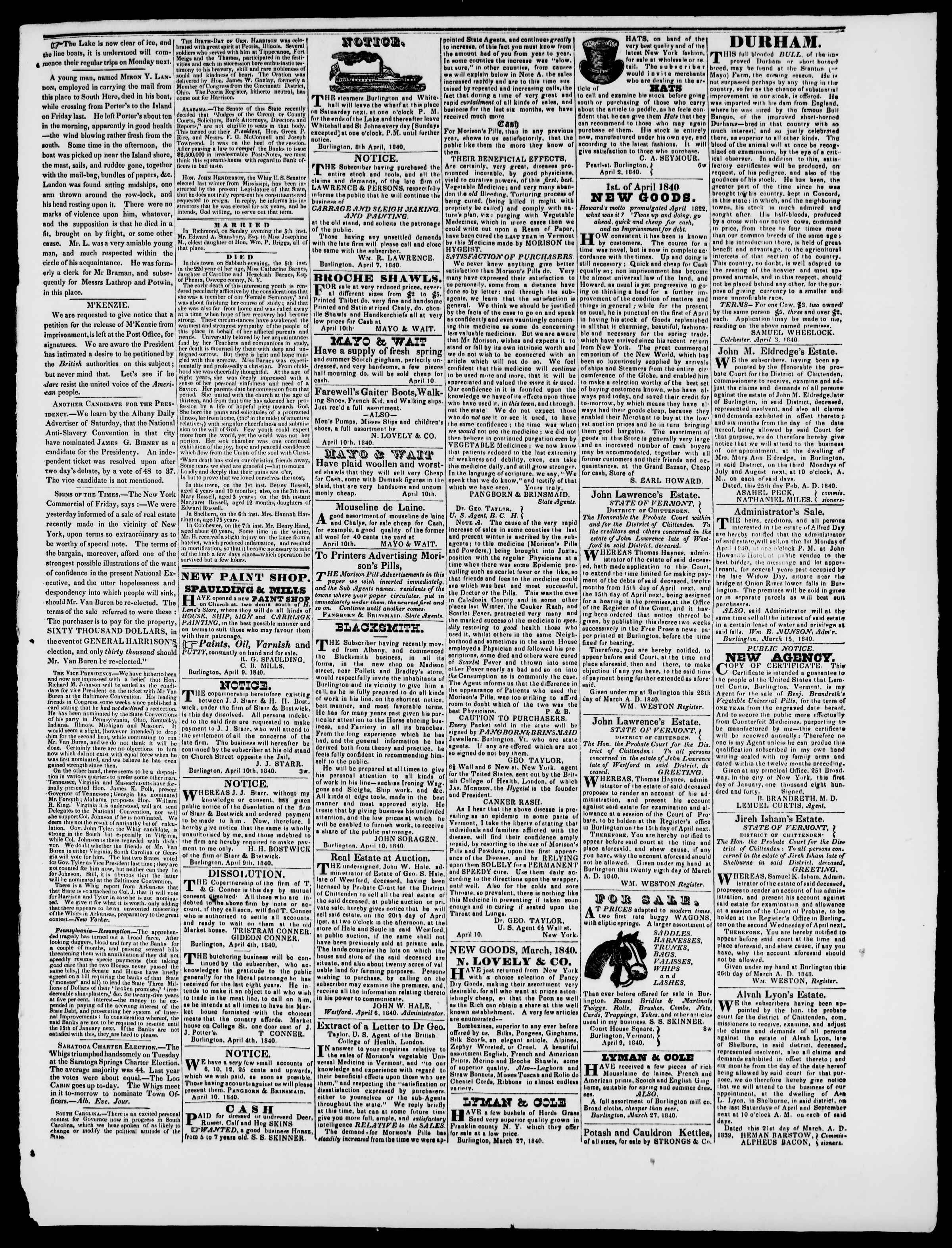 Newspaper of Burlington Free Press dated April 10, 1840 Page 3