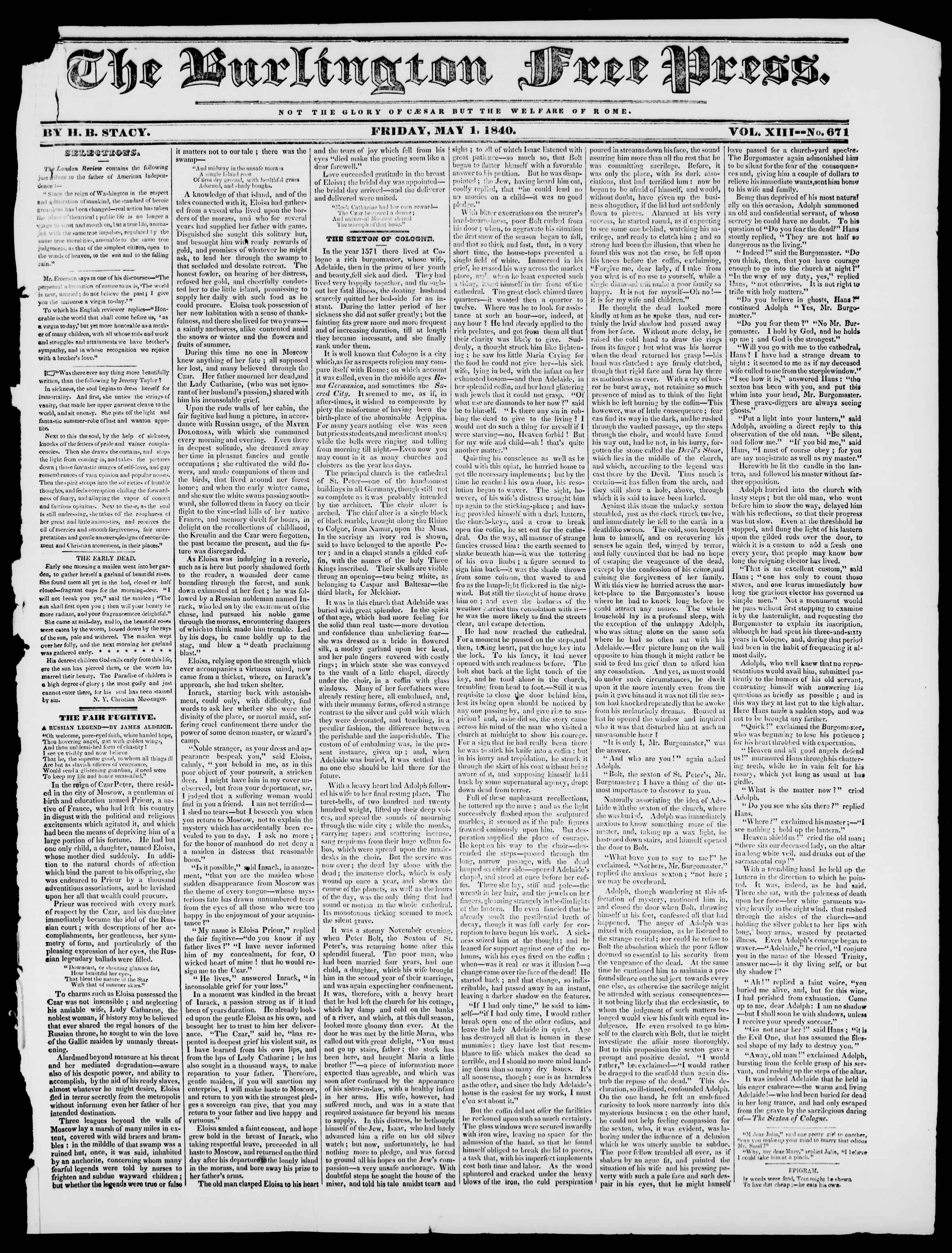 Newspaper of Burlington Free Press dated May 1, 1840 Page 1
