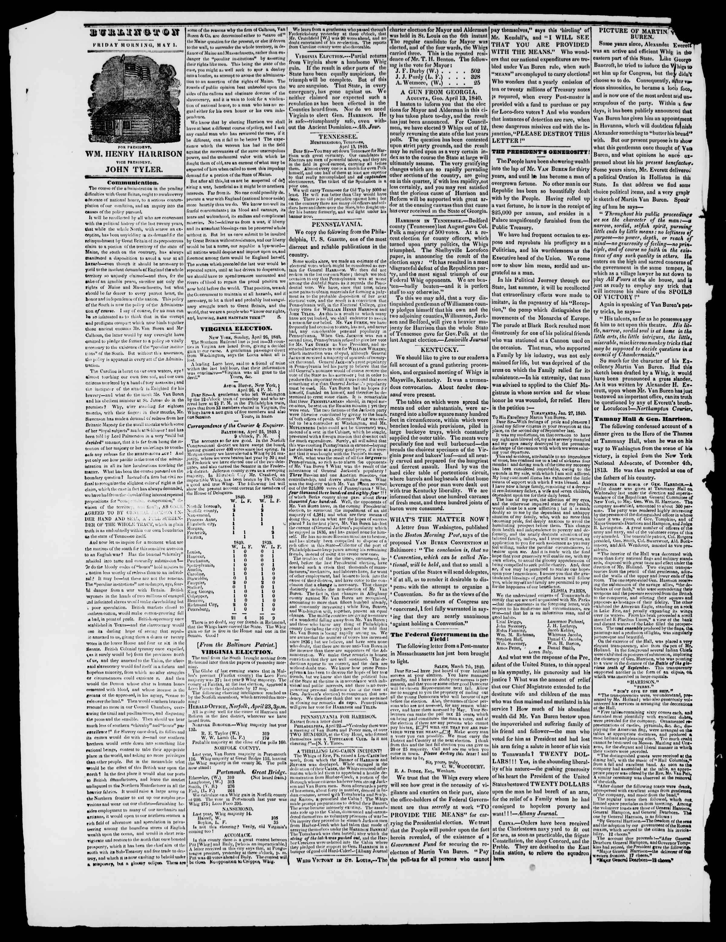 Newspaper of Burlington Free Press dated May 1, 1840 Page 2