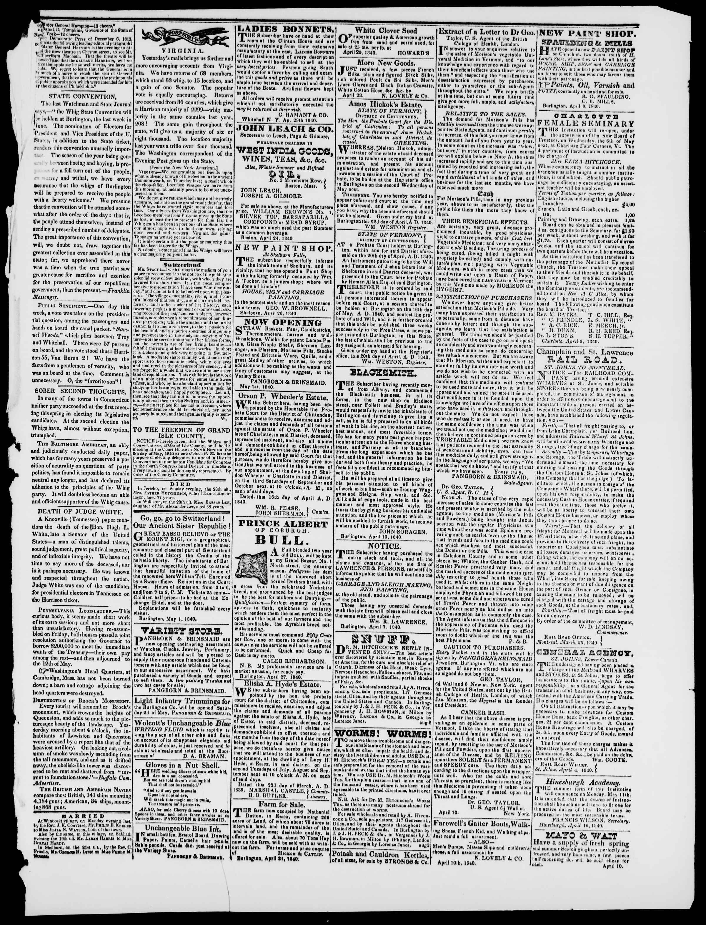 Newspaper of Burlington Free Press dated May 1, 1840 Page 3