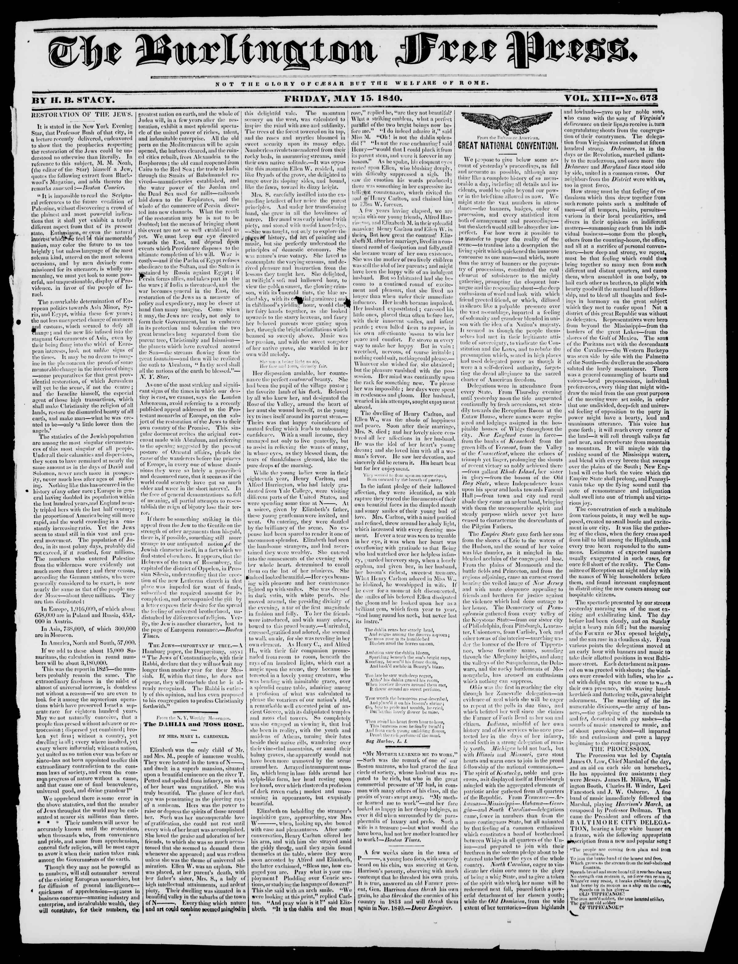 Newspaper of Burlington Free Press dated May 15, 1840 Page 1