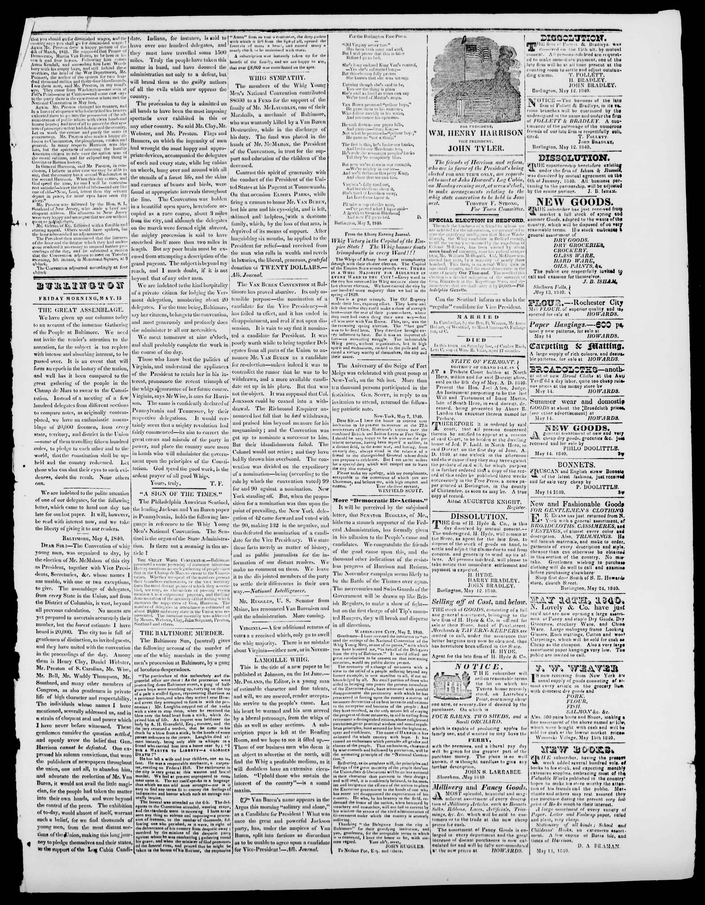 Newspaper of Burlington Free Press dated May 15, 1840 Page 3