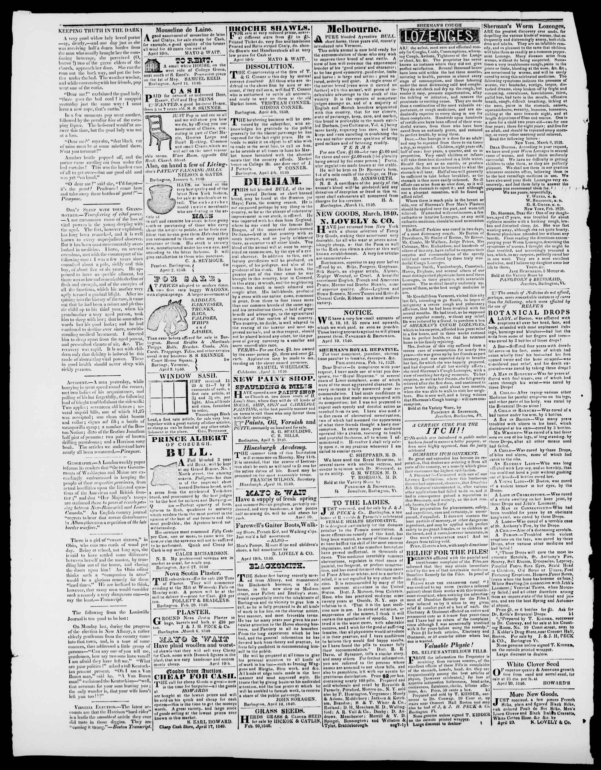 Newspaper of Burlington Free Press dated May 15, 1840 Page 4