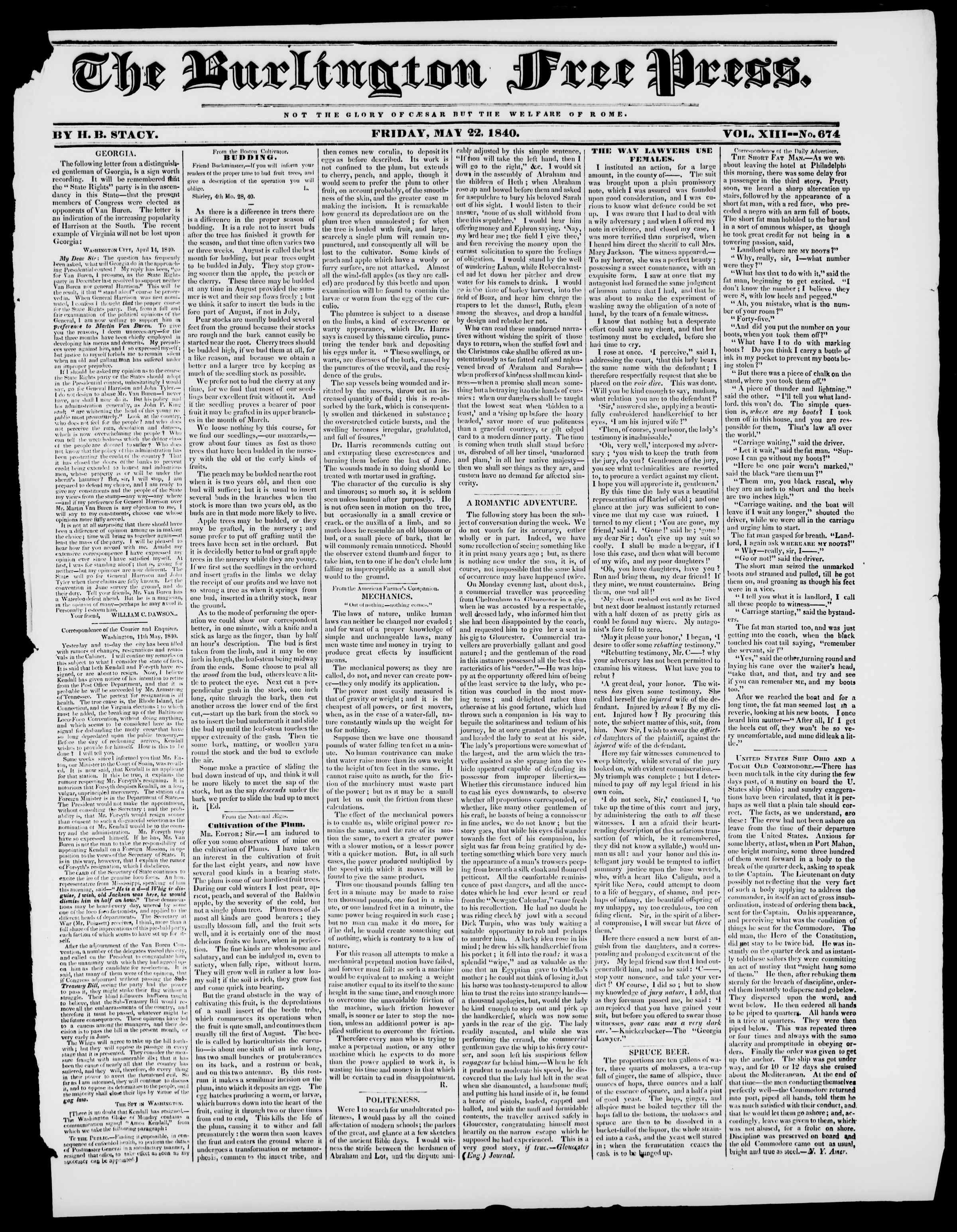 Newspaper of Burlington Free Press dated May 22, 1840 Page 1