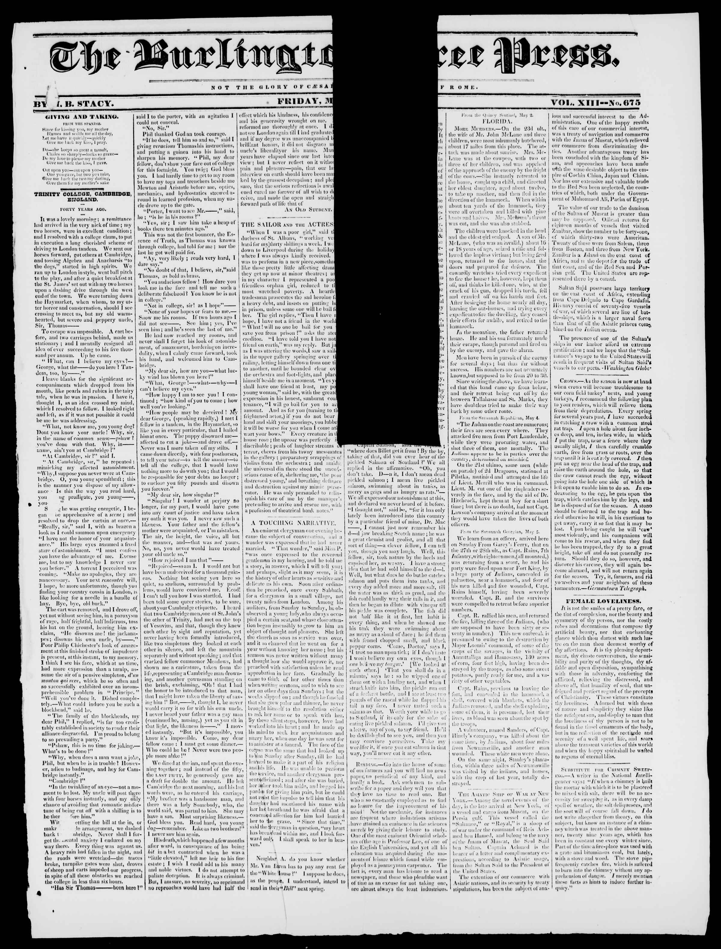 Newspaper of Burlington Free Press dated May 29, 1840 Page 1