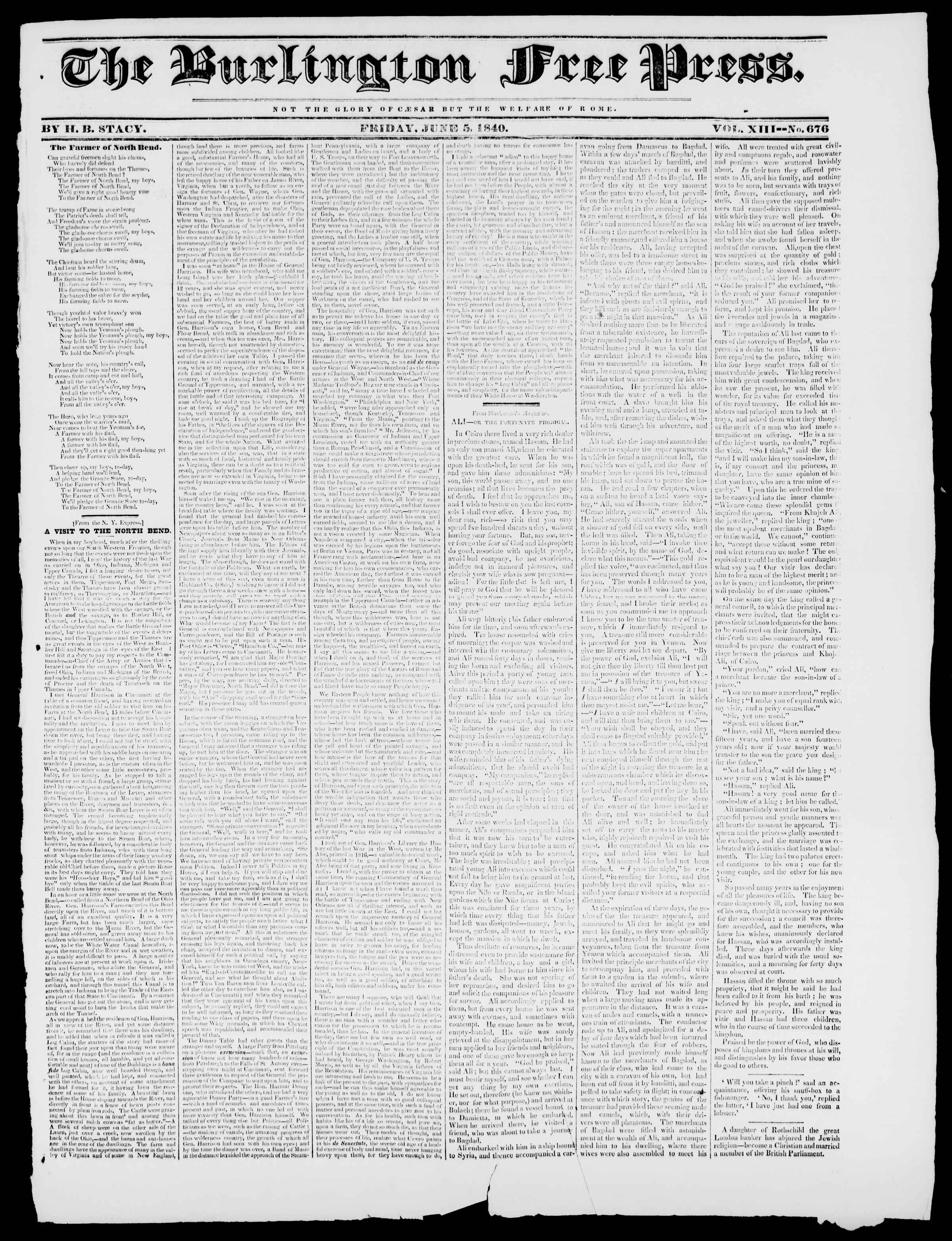 Newspaper of Burlington Free Press dated June 5, 1840 Page 1