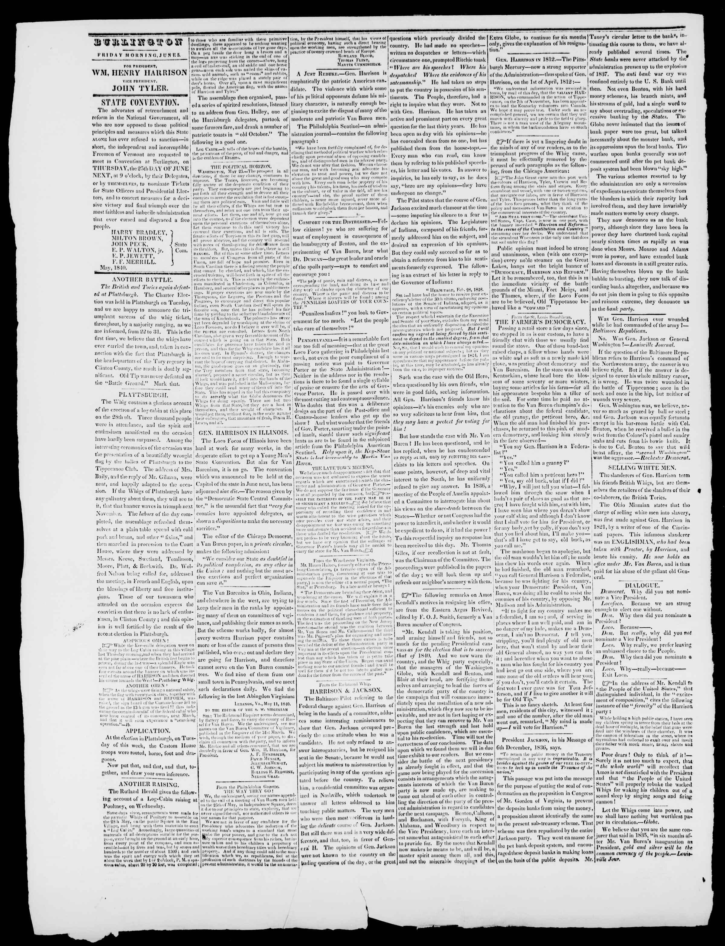 Newspaper of Burlington Free Press dated June 5, 1840 Page 2