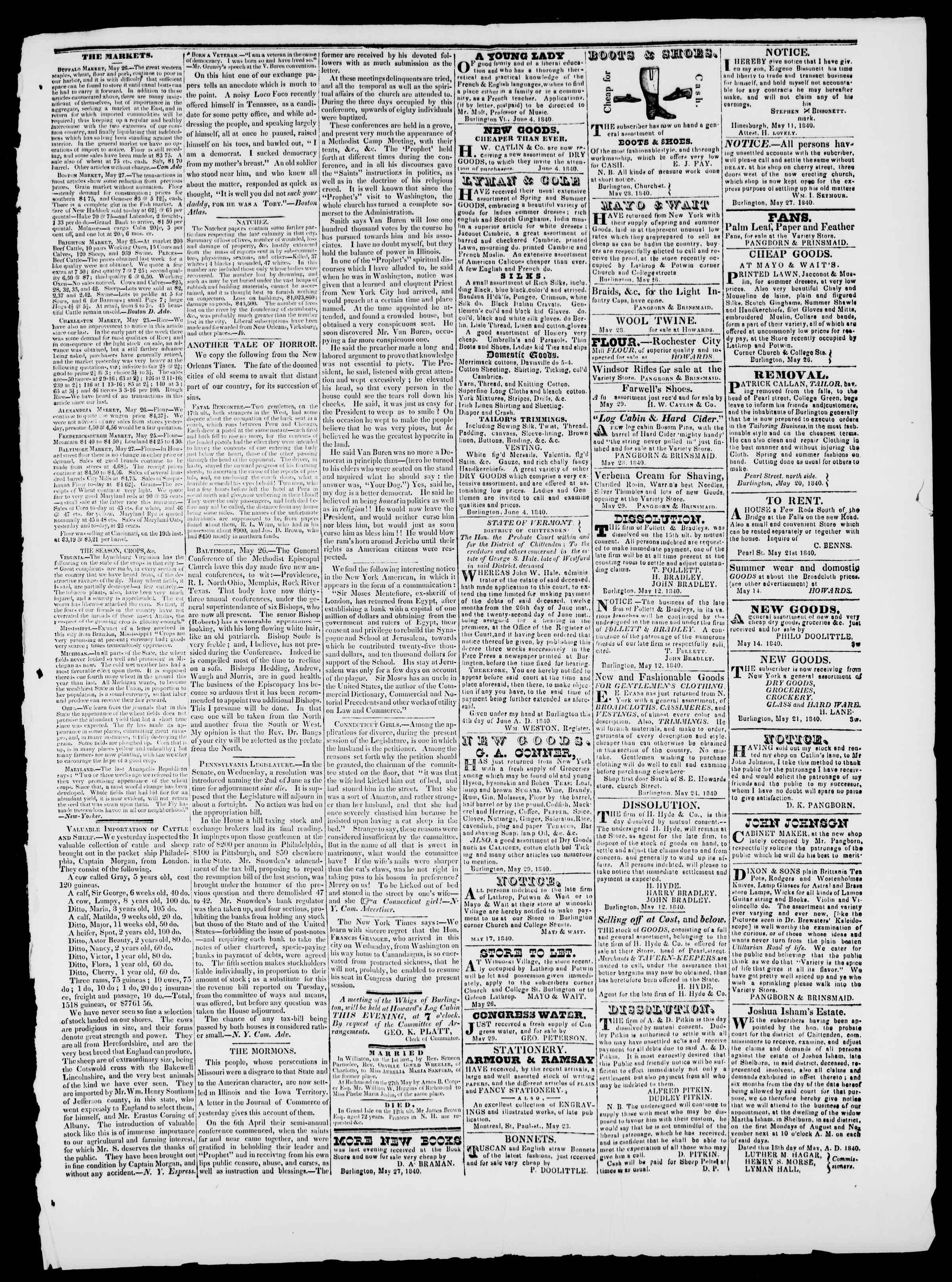 Newspaper of Burlington Free Press dated June 5, 1840 Page 3