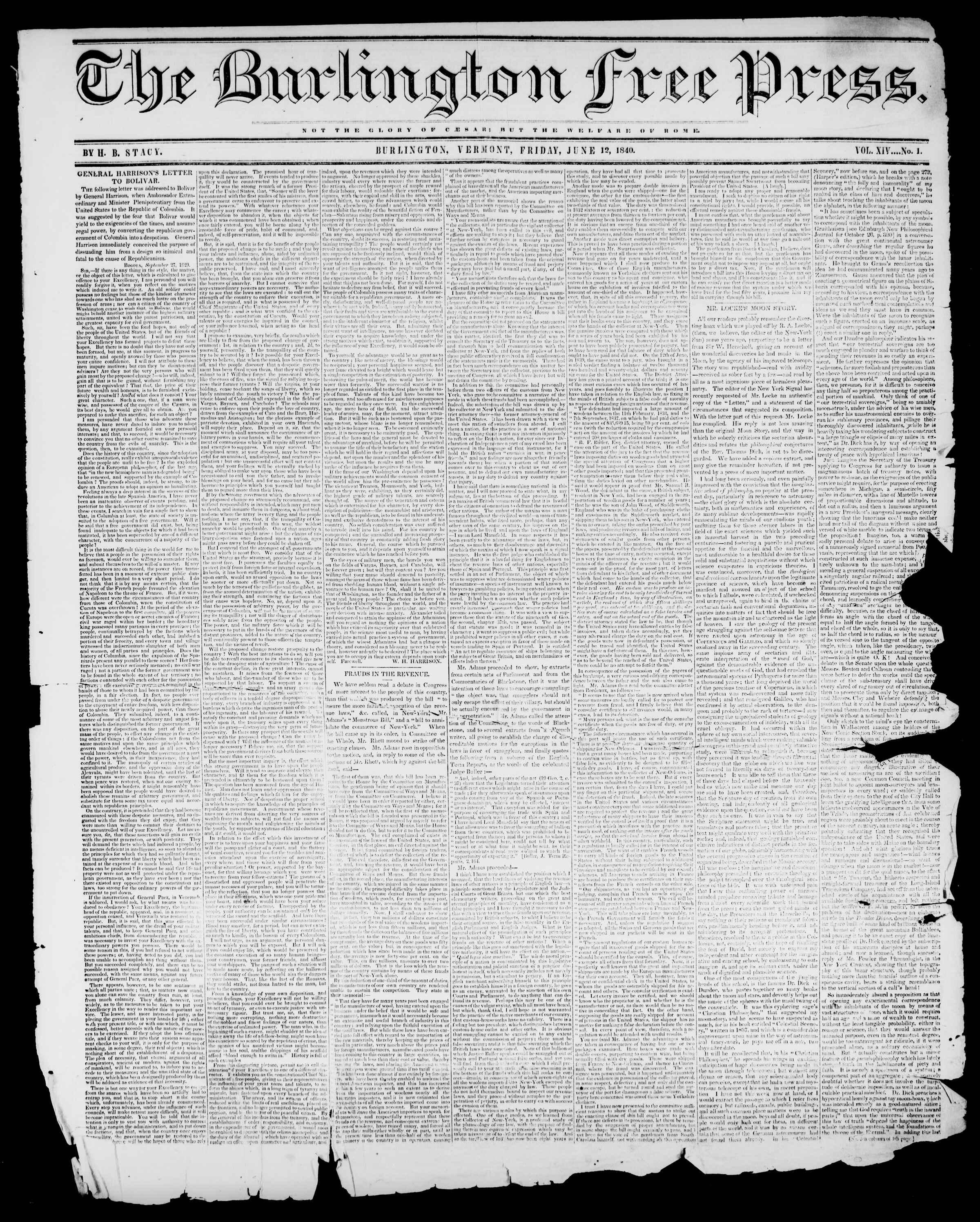Newspaper of Burlington Free Press dated June 12, 1840 Page 1