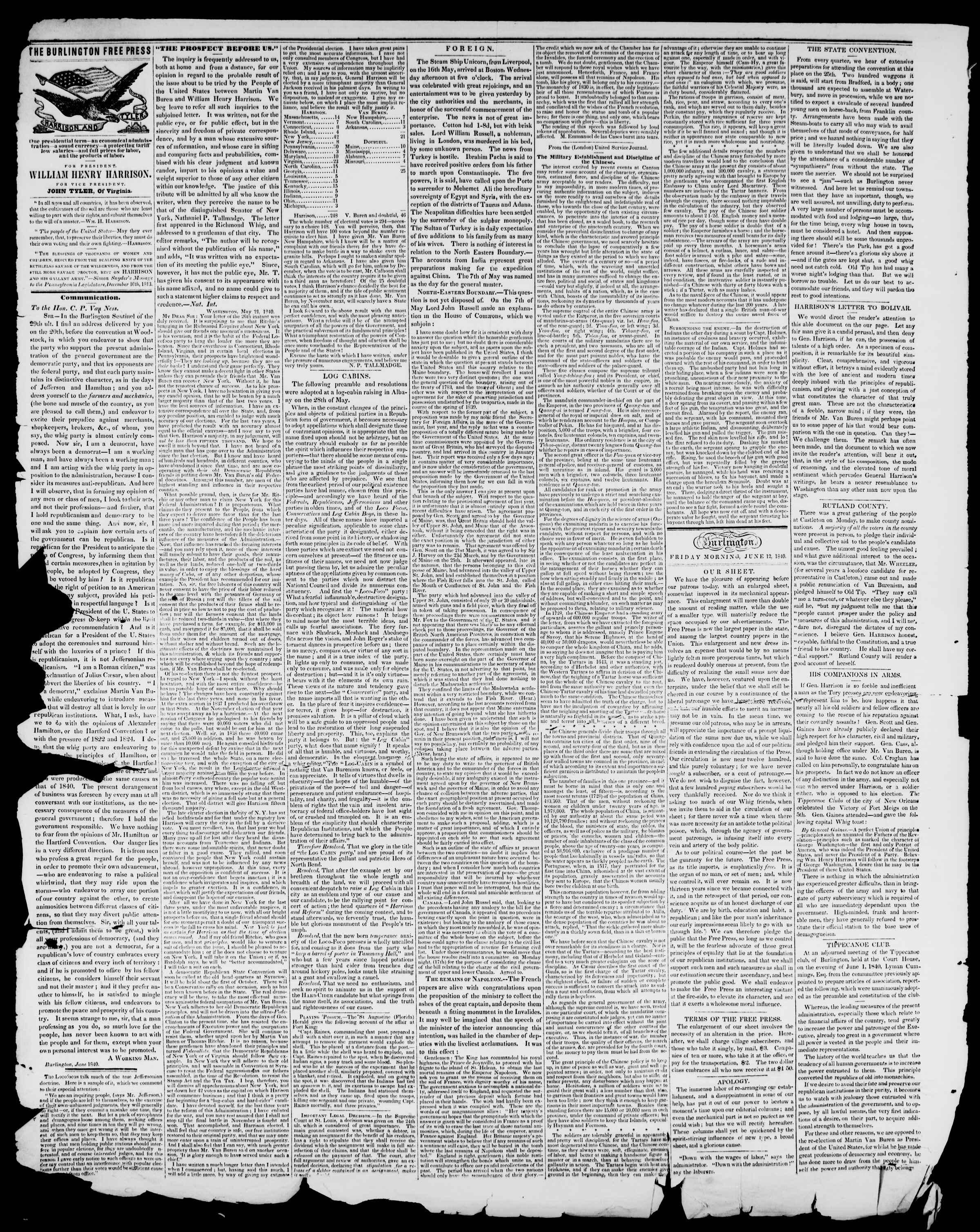 Newspaper of Burlington Free Press dated June 12, 1840 Page 2