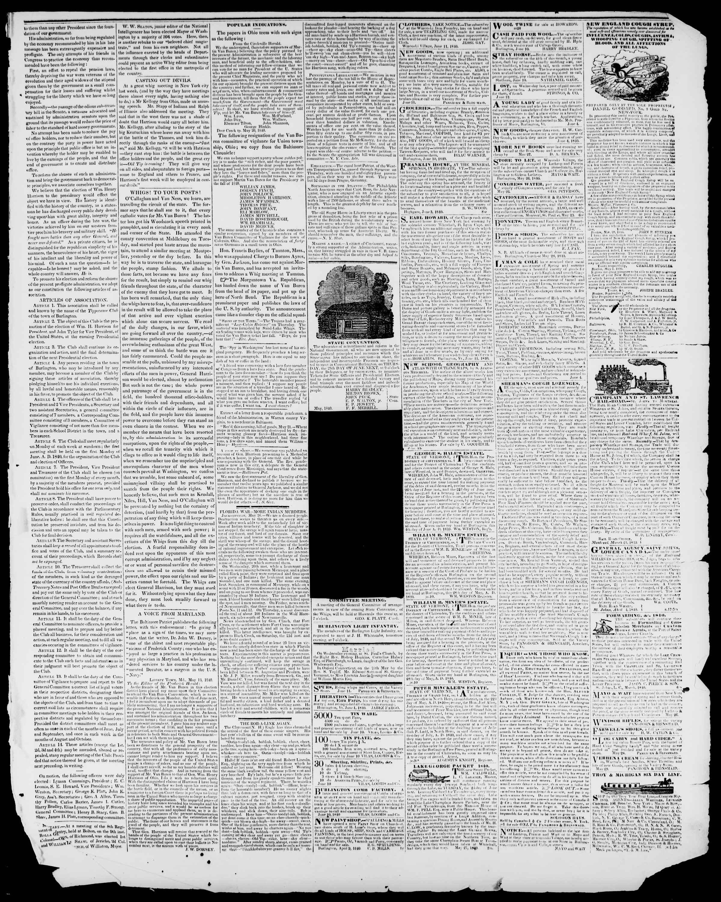 Newspaper of Burlington Free Press dated June 12, 1840 Page 3