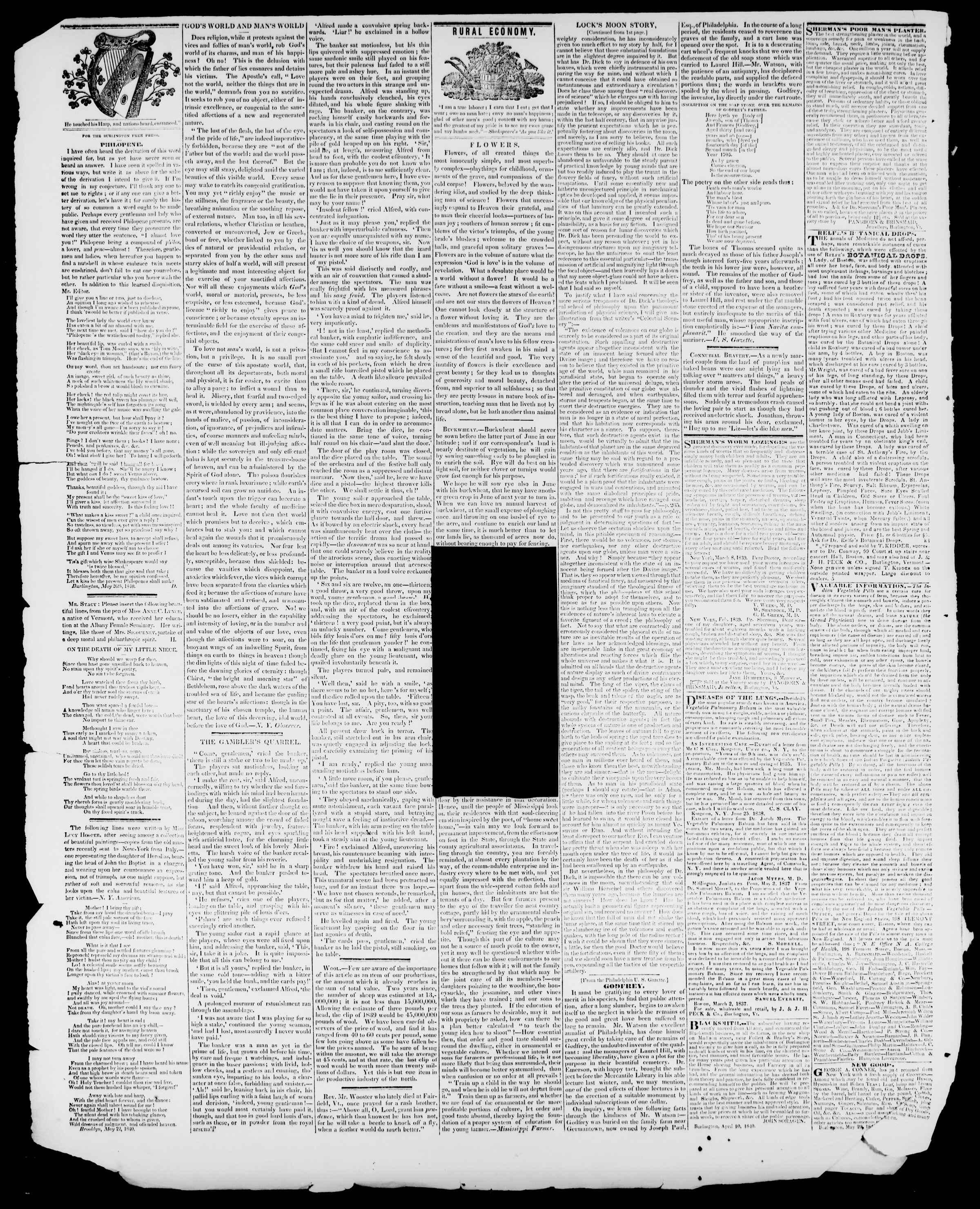 Newspaper of Burlington Free Press dated June 12, 1840 Page 4