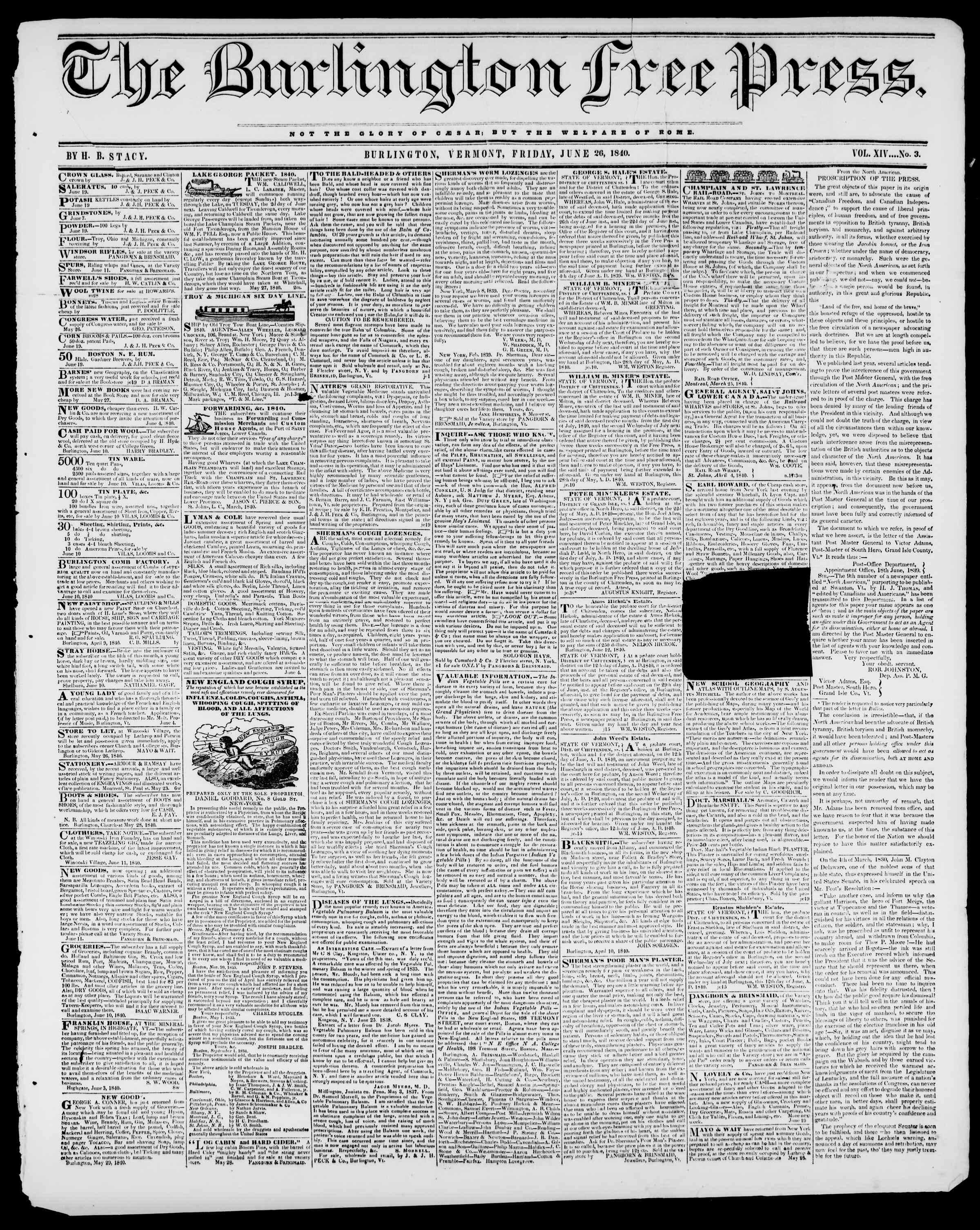 Newspaper of Burlington Free Press dated June 26, 1840 Page 1
