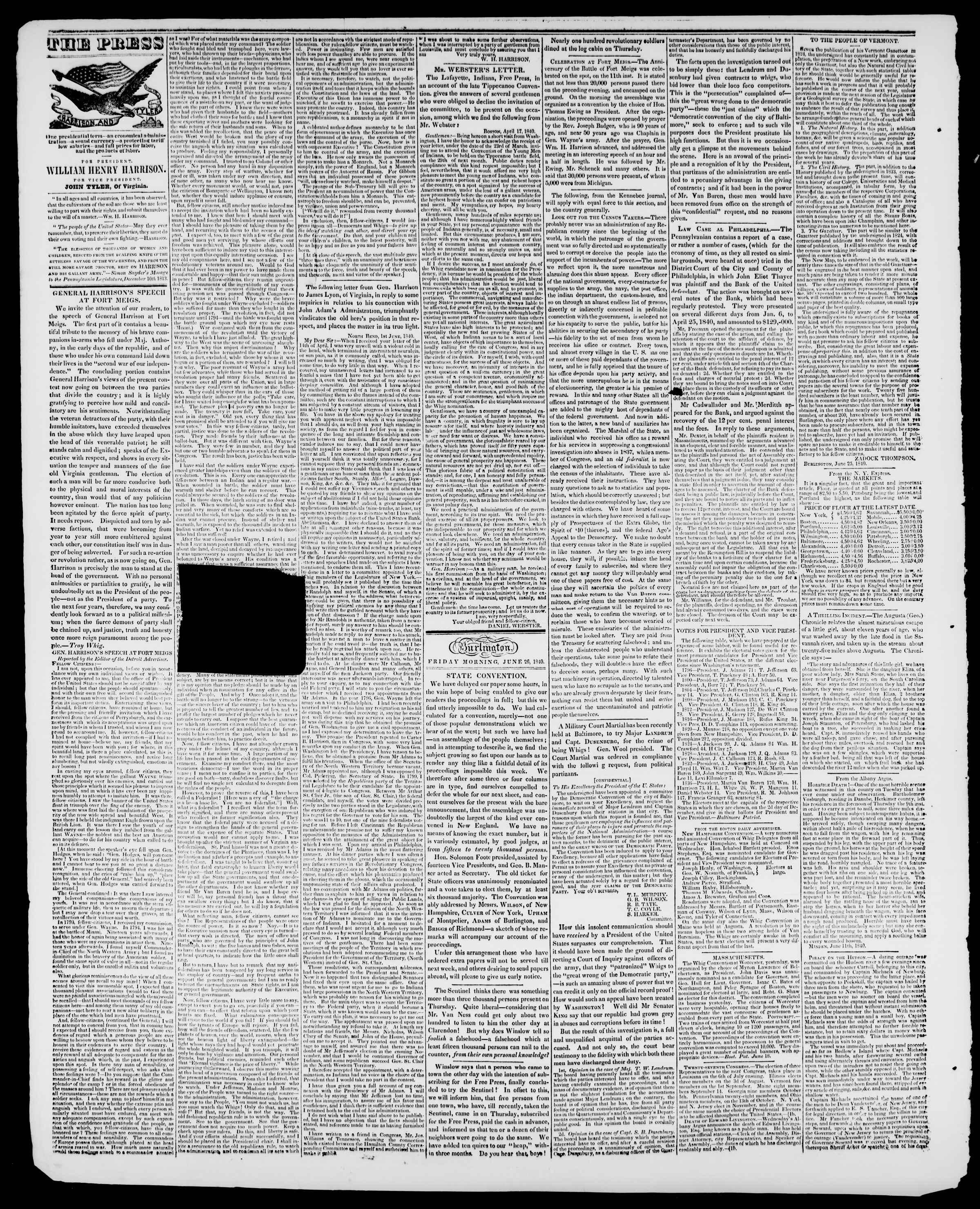 Newspaper of Burlington Free Press dated June 26, 1840 Page 2