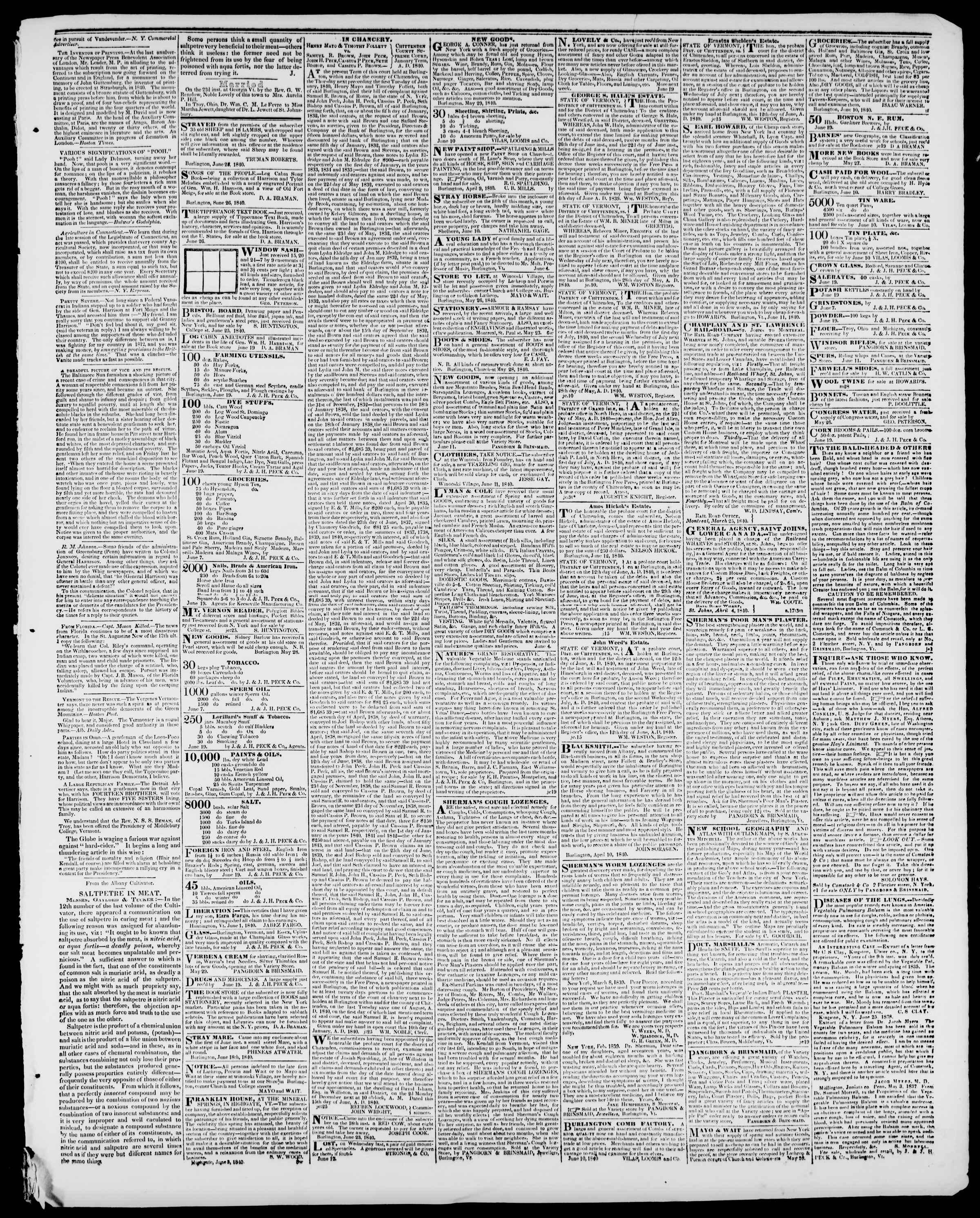 Newspaper of Burlington Free Press dated June 26, 1840 Page 3