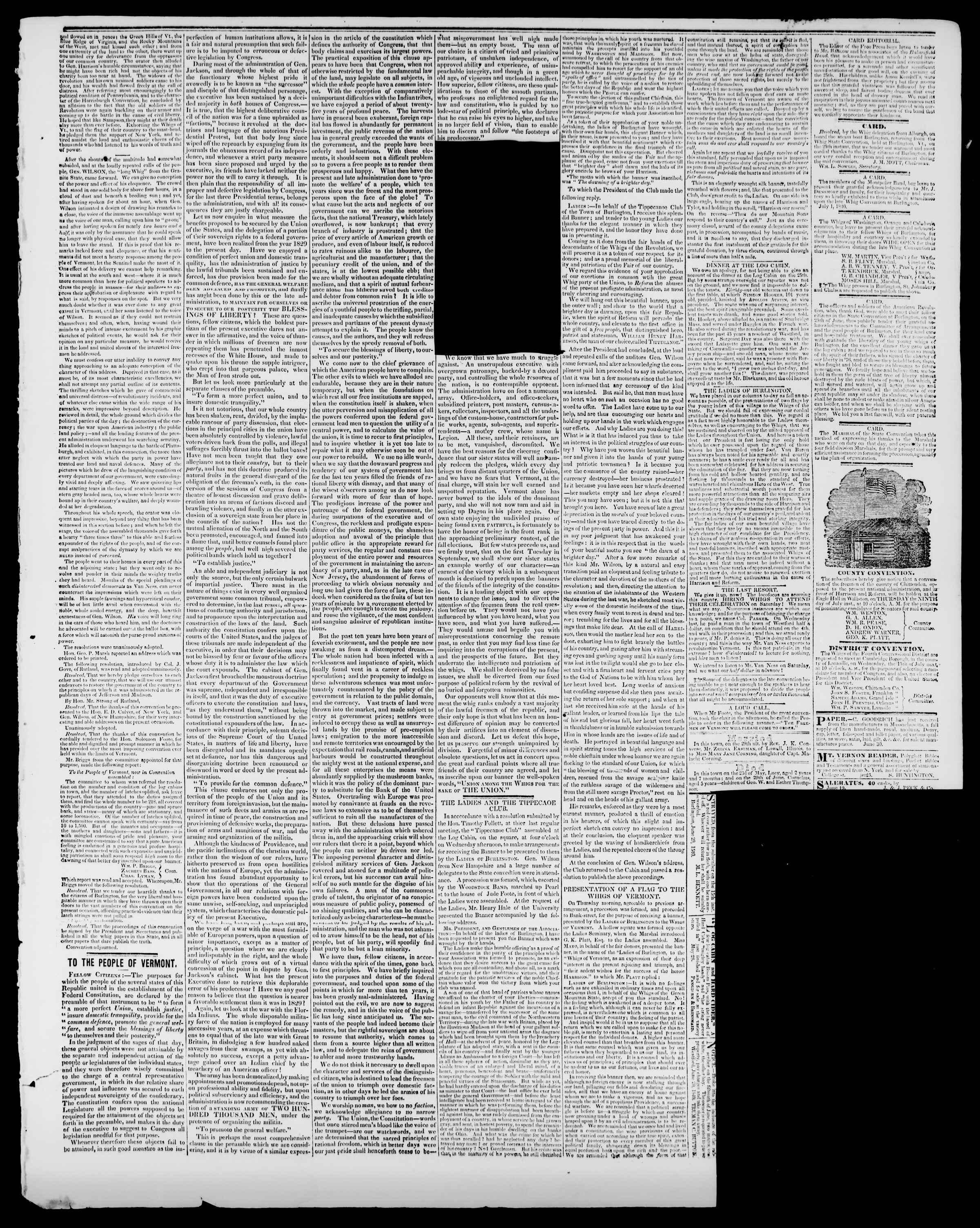 Newspaper of Burlington Free Press dated July 3, 1840 Page 3