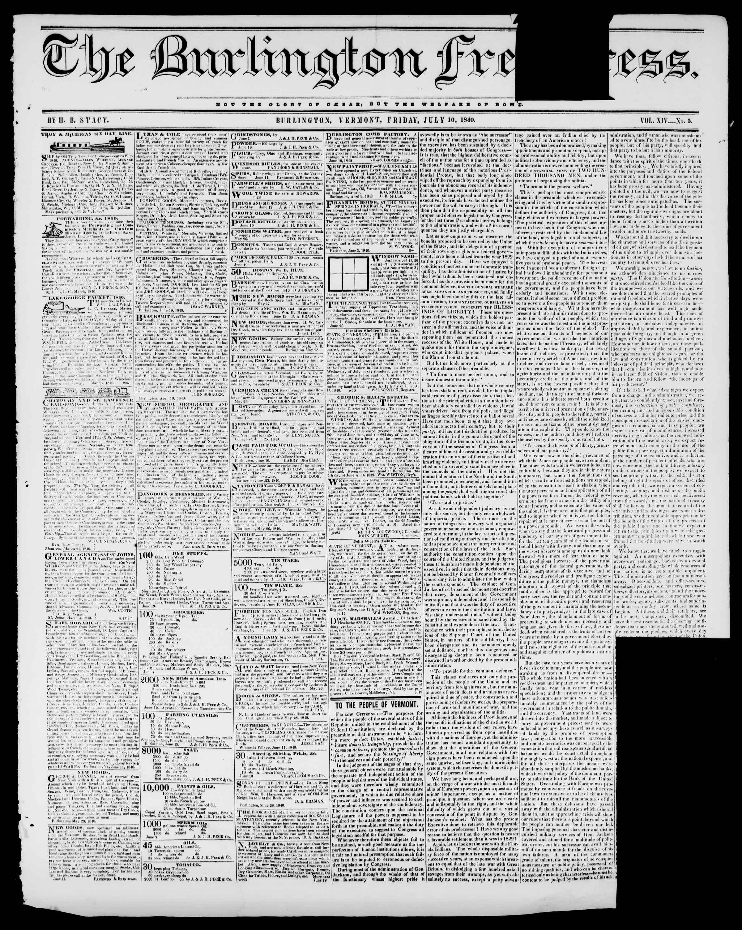 Newspaper of Burlington Free Press dated July 10, 1840 Page 1