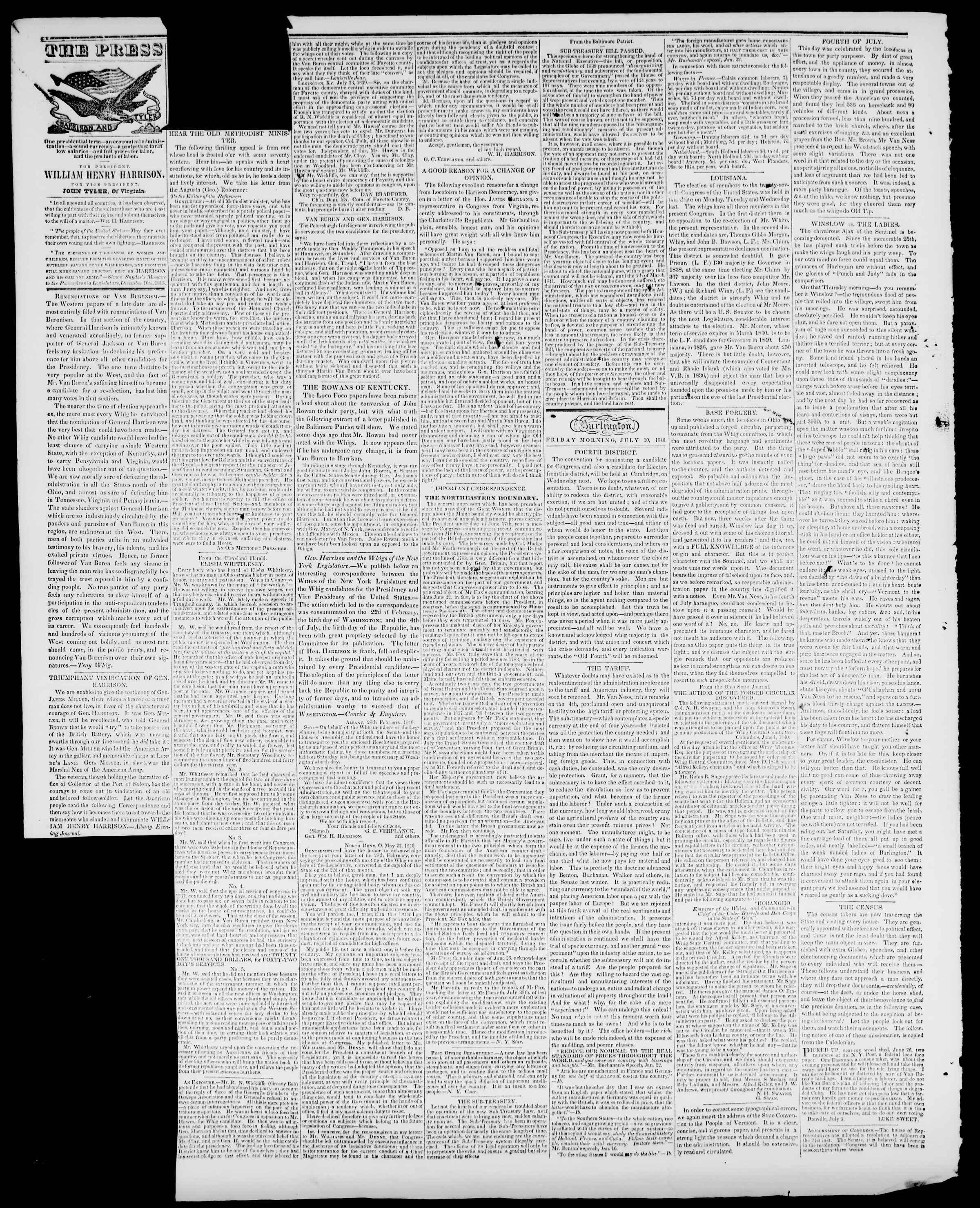 Newspaper of Burlington Free Press dated July 10, 1840 Page 2