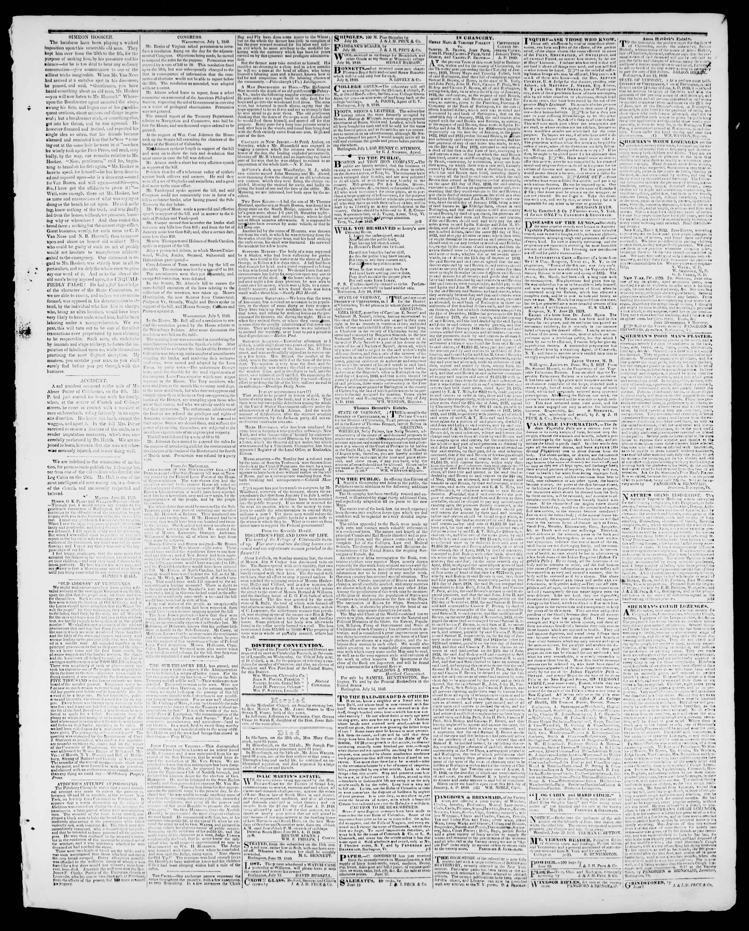 Newspaper of Burlington Free Press dated July 10, 1840 Page 3