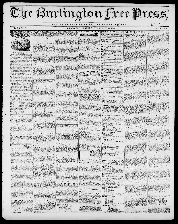 Newspaper of Burlington Free Press dated July 17, 1840 Page 1