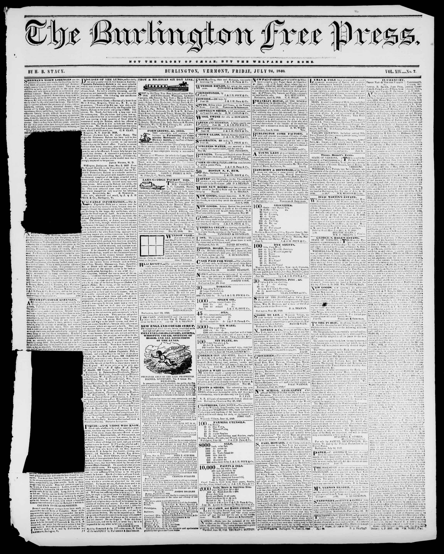 Newspaper of Burlington Free Press dated July 24, 1840 Page 1