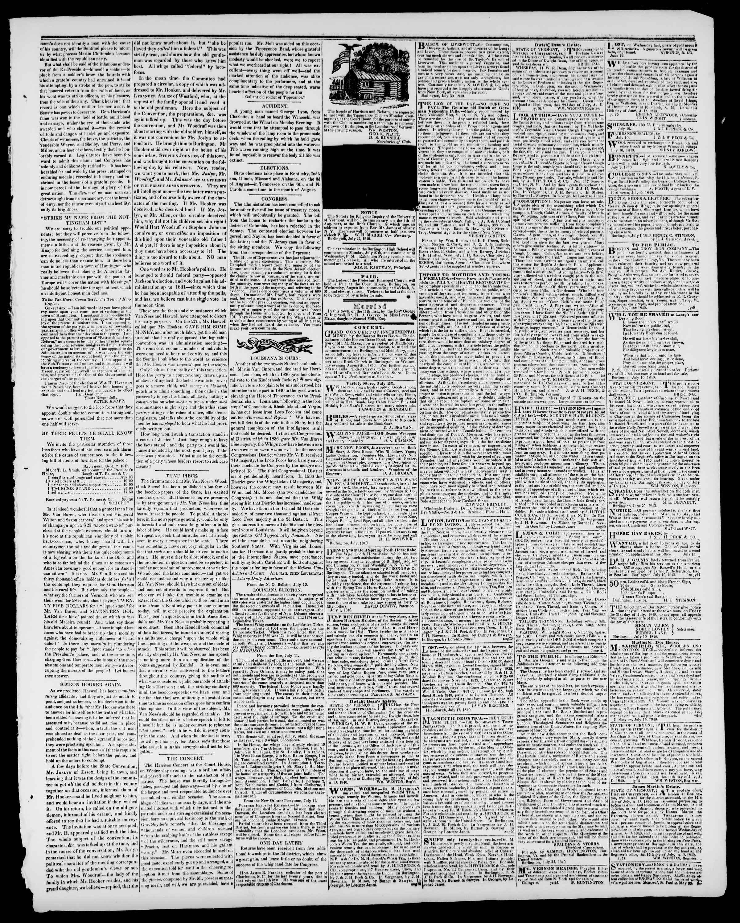 Newspaper of Burlington Free Press dated July 24, 1840 Page 3