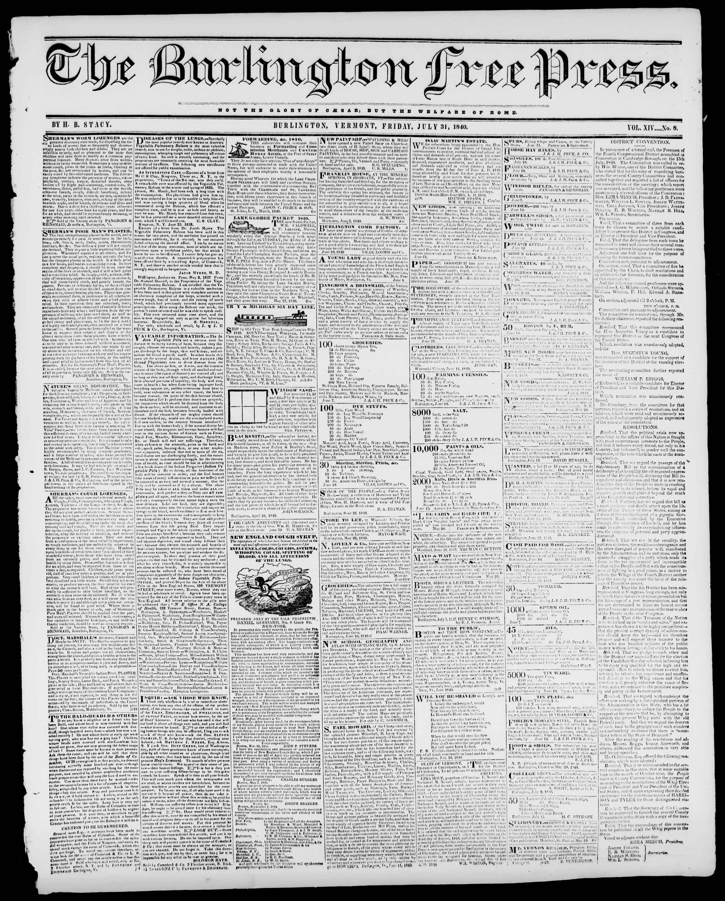 Newspaper of Burlington Free Press dated July 31, 1840 Page 1